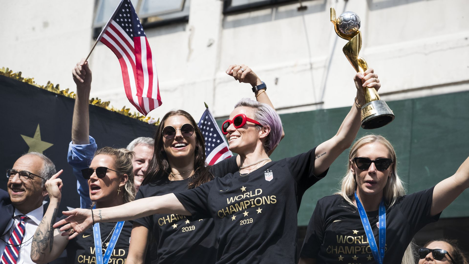 Megan Rapinoe #15 of United States holds the 2019 FIFA World Cup Champion Trophy