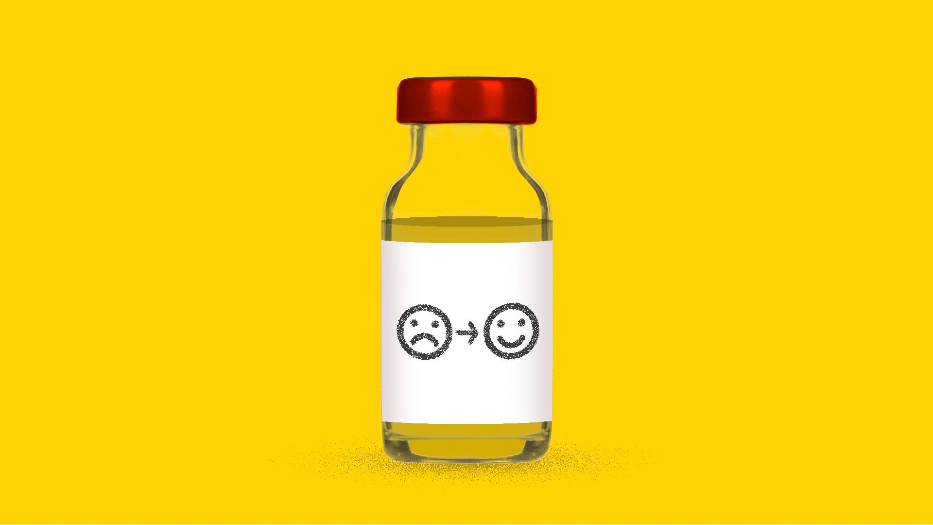 Illustration of bottle of antidepressant drug Ketamine with a sad face turning into a happy face