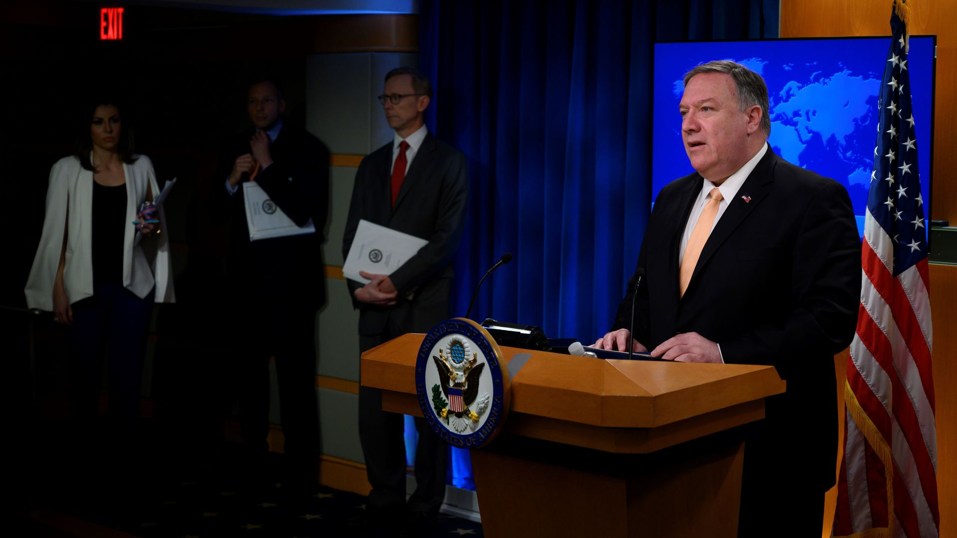Mike Pompeo at a lectern during State Department press conference