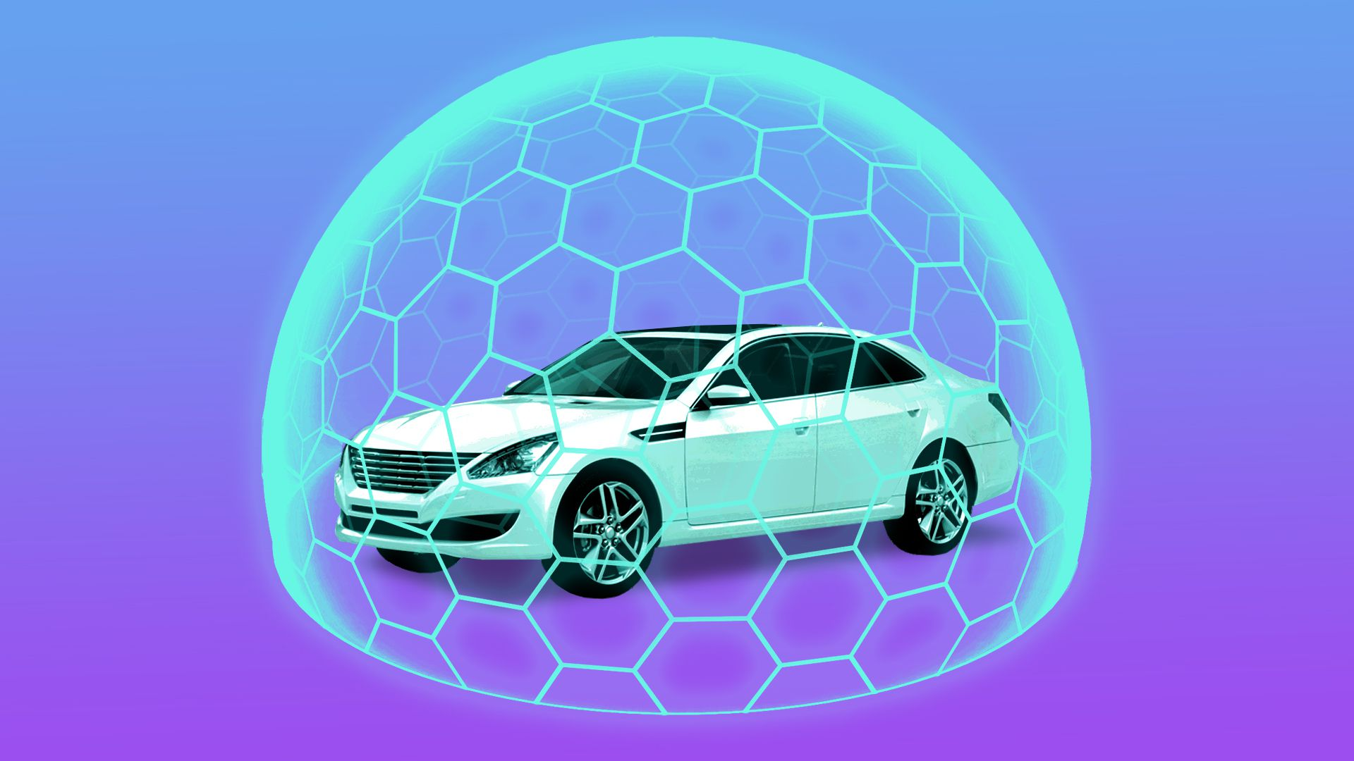 Illustration of car surrounded by artificial intelligence dome