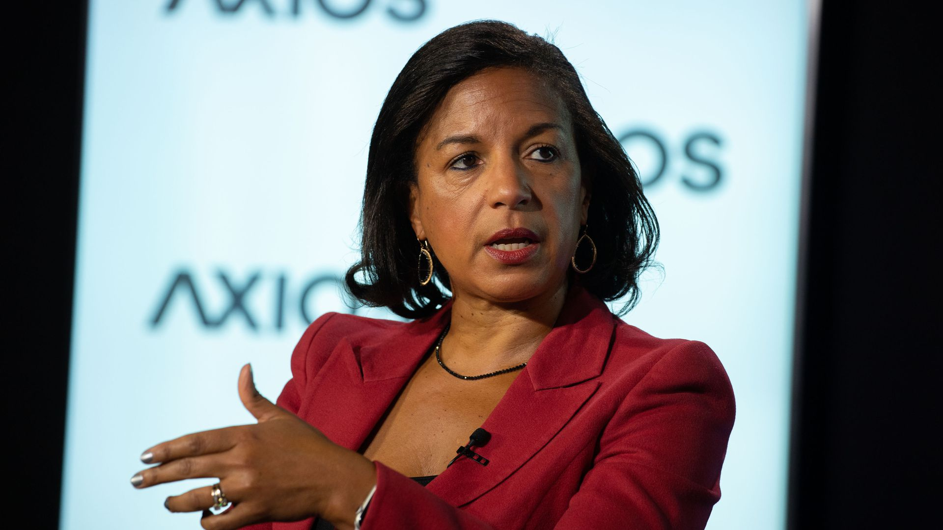 Former United States Ambassador to the United Nations, Susan Rice on the Axios stage.