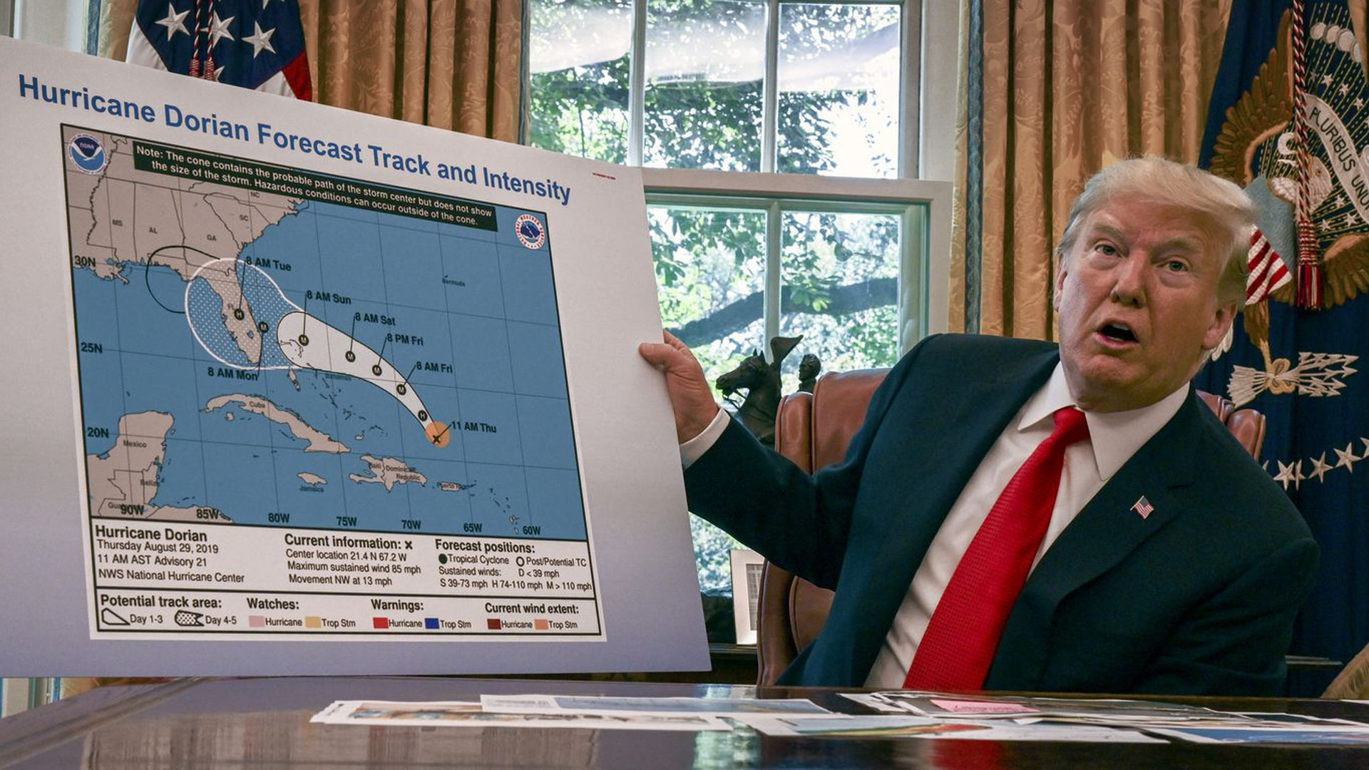 Trump gives an Oval Office briefing on the status of Hurricane Dorian on Sept. 4.