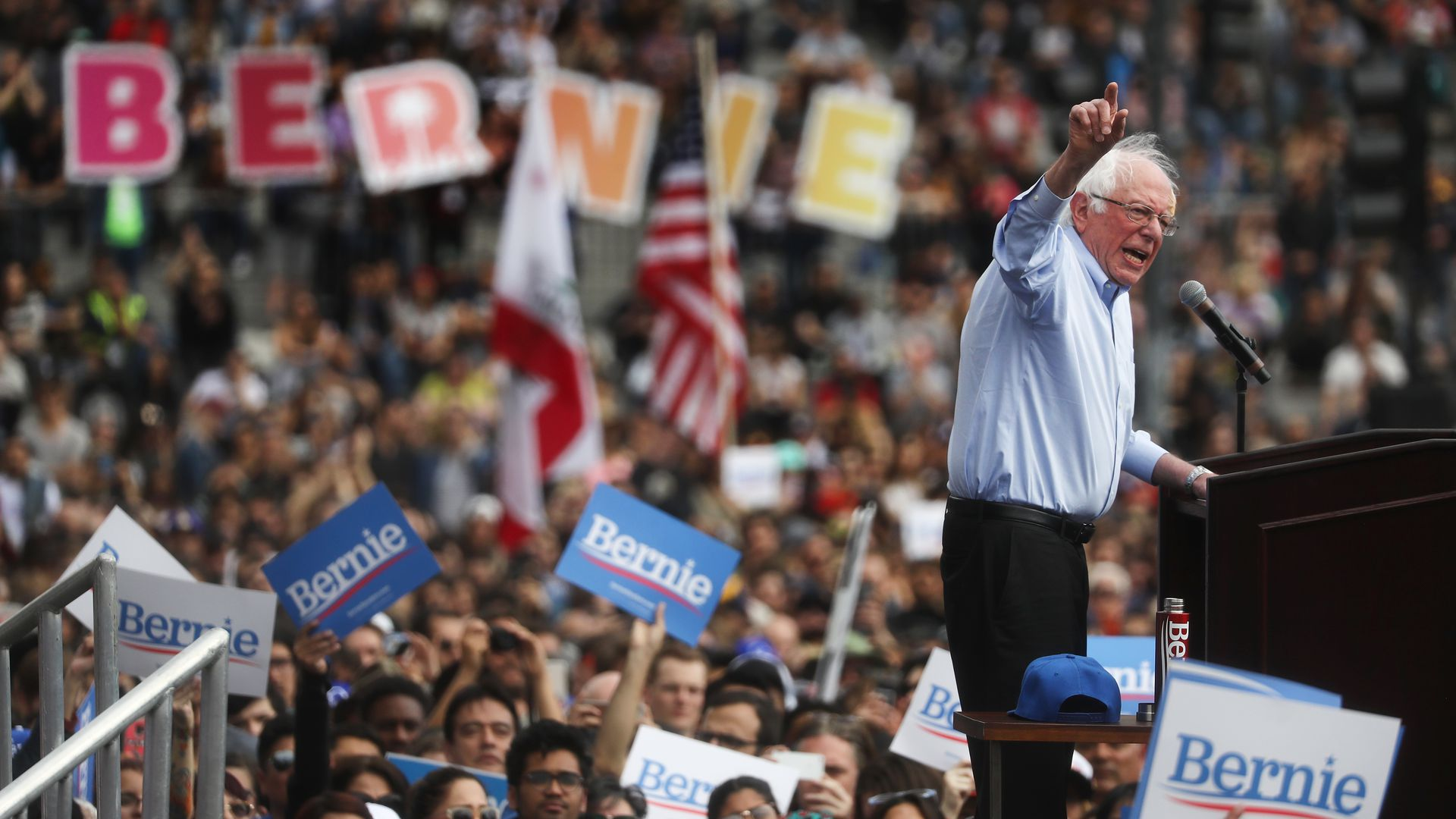 2020 Democratic presidential candidate, Sen. Bernie Sanders (I-Vt.) at a campaign rally last month in California.