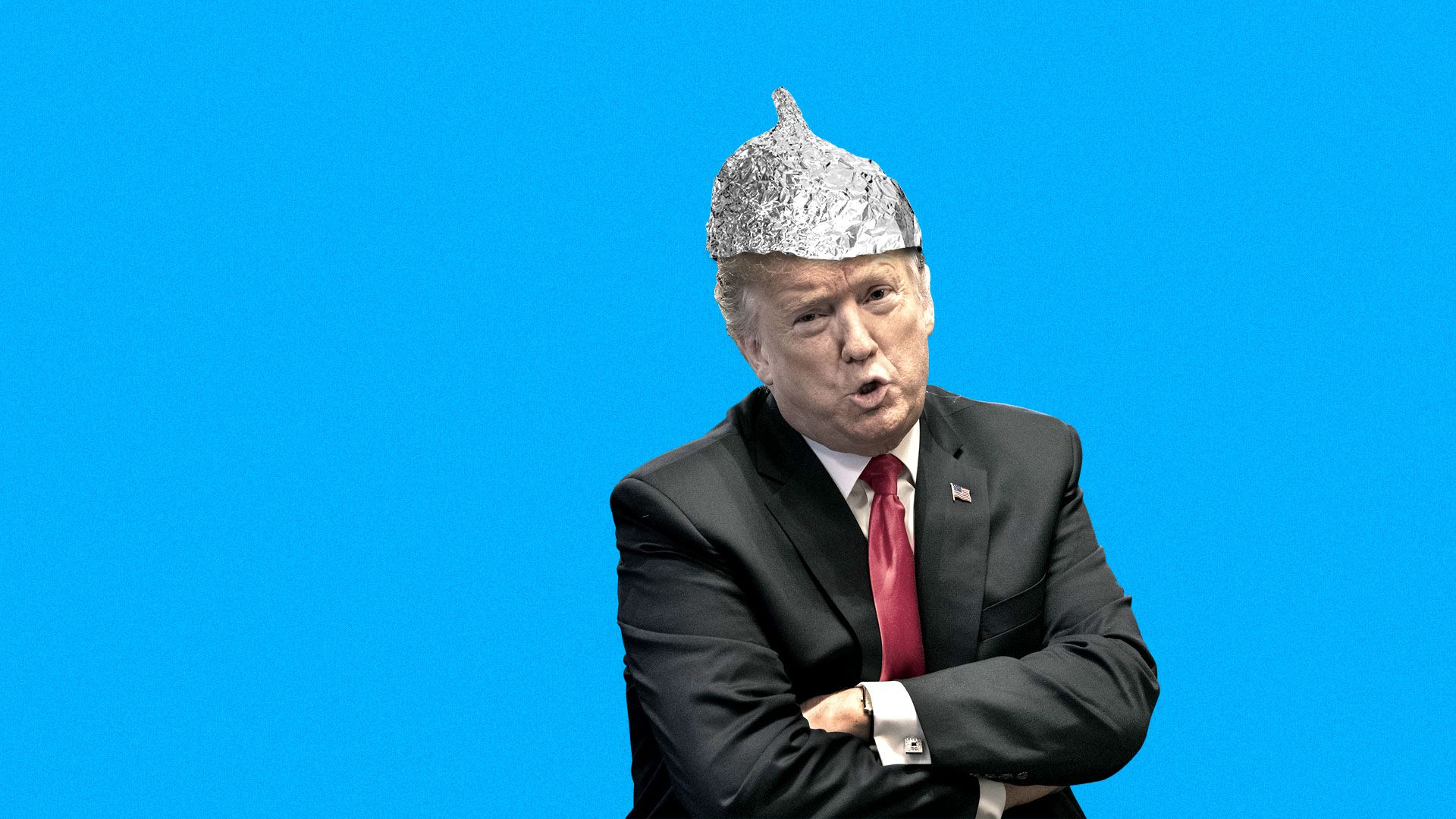 President Trump wearing a tinfoil hat