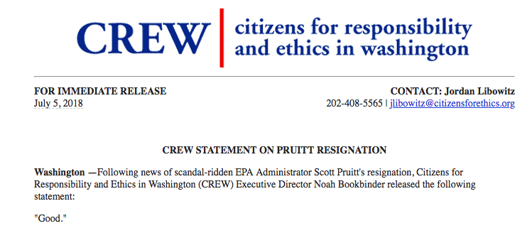 CREW statement on Pruitt's resignation.