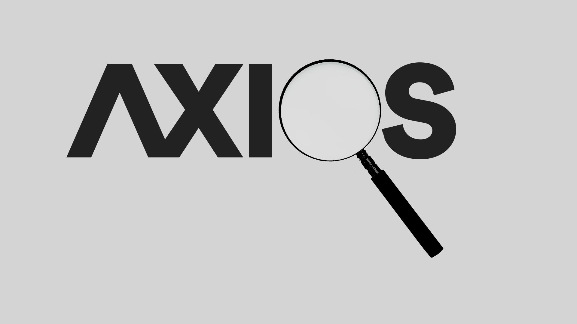"Axios logo with a magnifying glass as the ""o"""