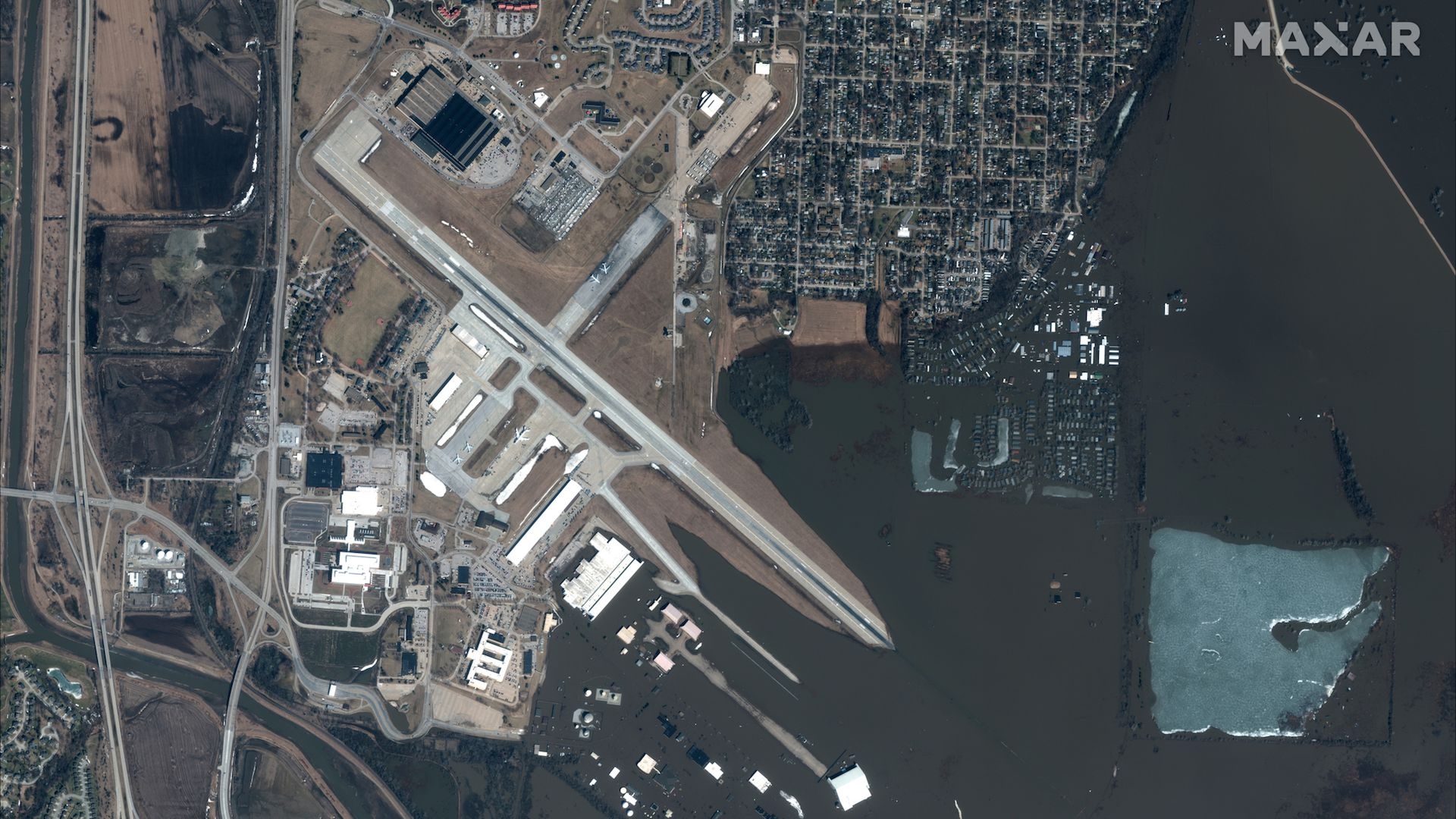 Satellite before and after photos reveal the scope and scale of the floods in Plains states