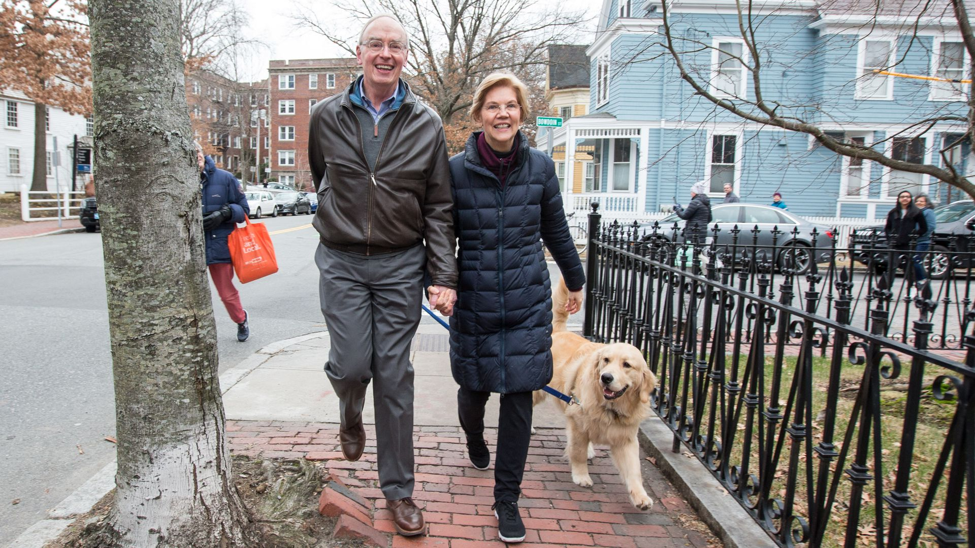 Sen. Elizabeth Warren (D-Mass), her husband Bruce Mann and dog Bailey.