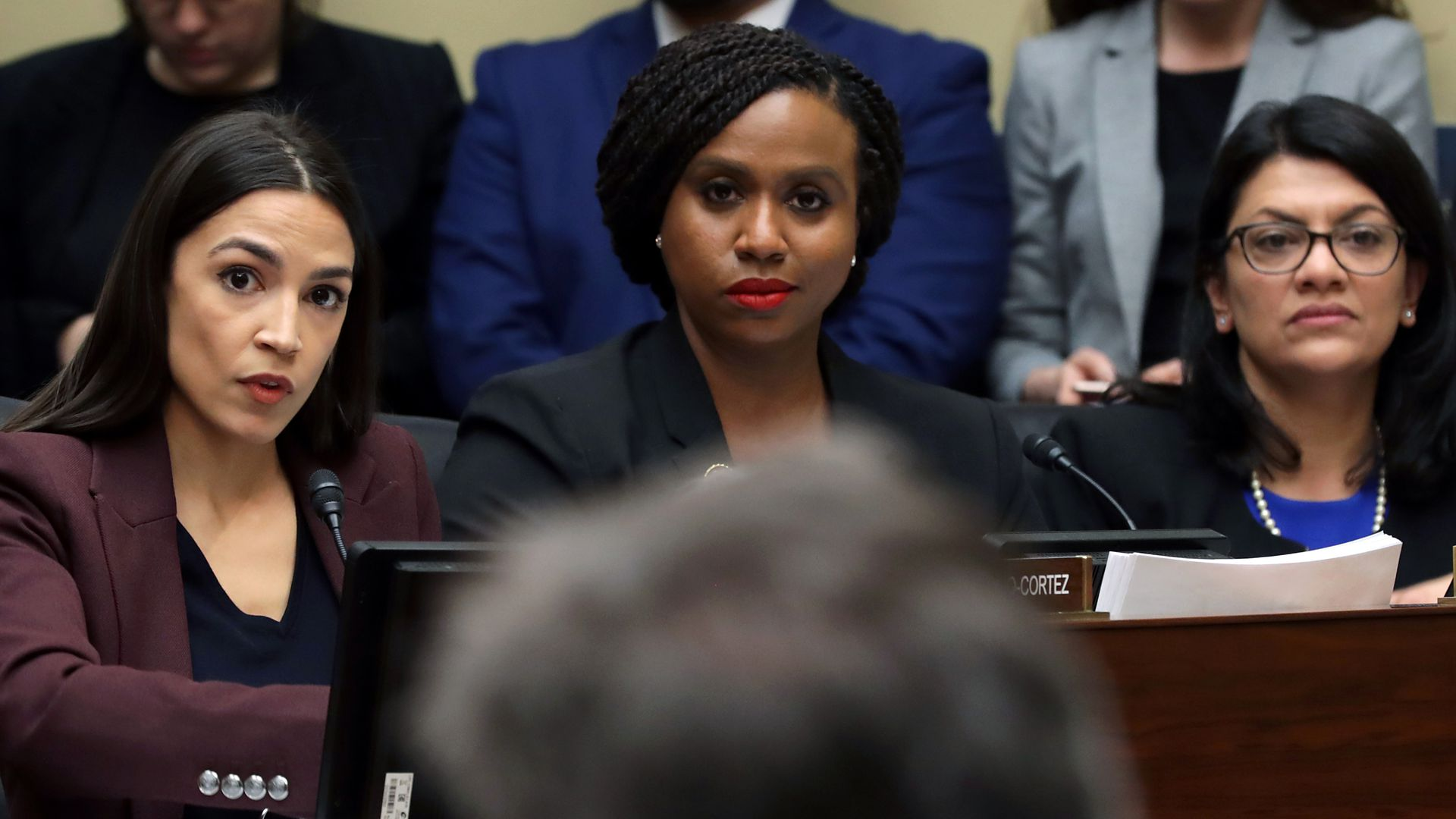 Rep. Alexandria Ocasio-Cortez (D-NY), Rep. Ayanna Pressley (D-MA) and Rep. Rashida Tlaib (D-MI) listen in the House Oversight Committee on Capitol Hill February 27, 2019 in Washington, DC