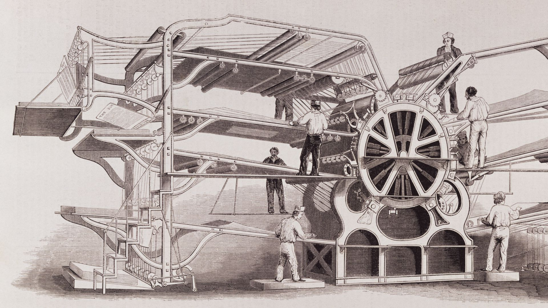 Antique illustration of a 19th-century steam powered printing press