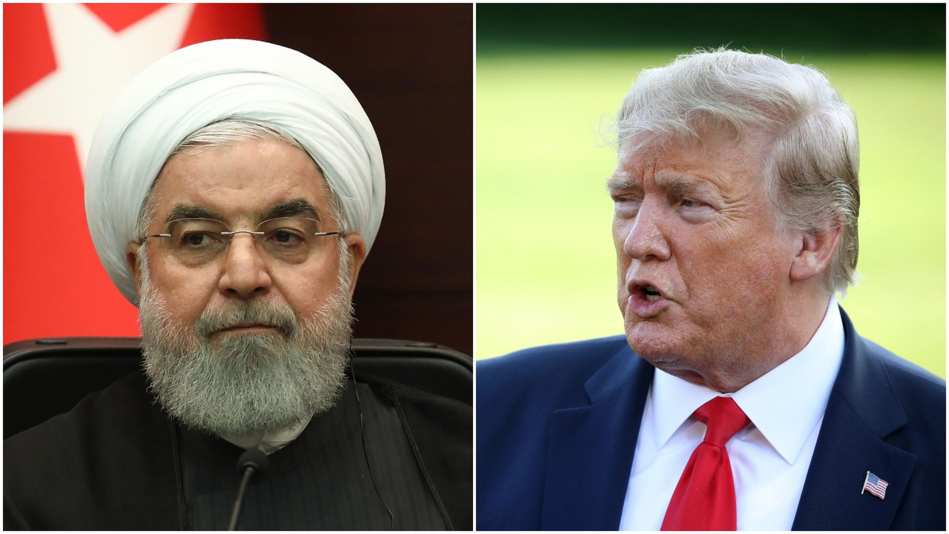 Collage of Iranian President Hassan Rouhani and President Trump