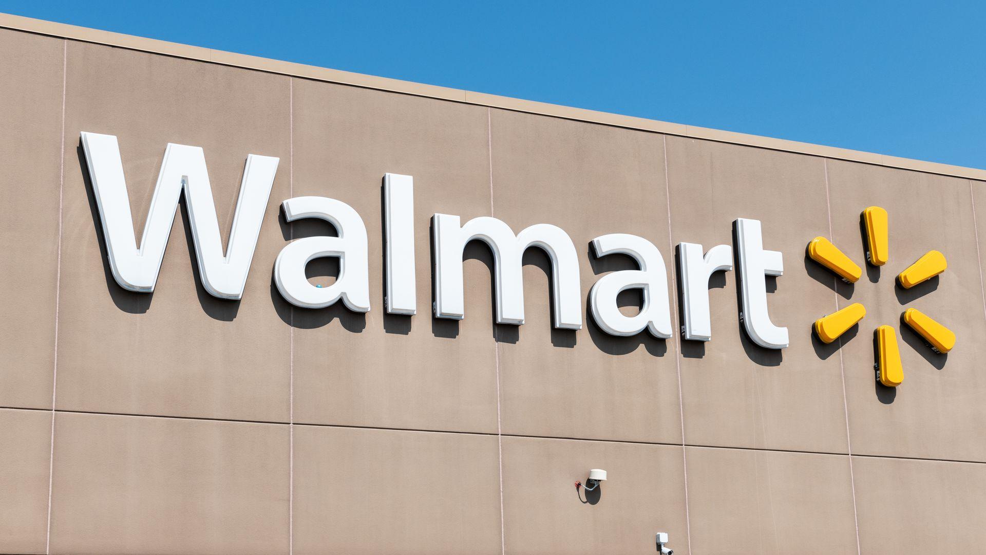 Walmart logo on store