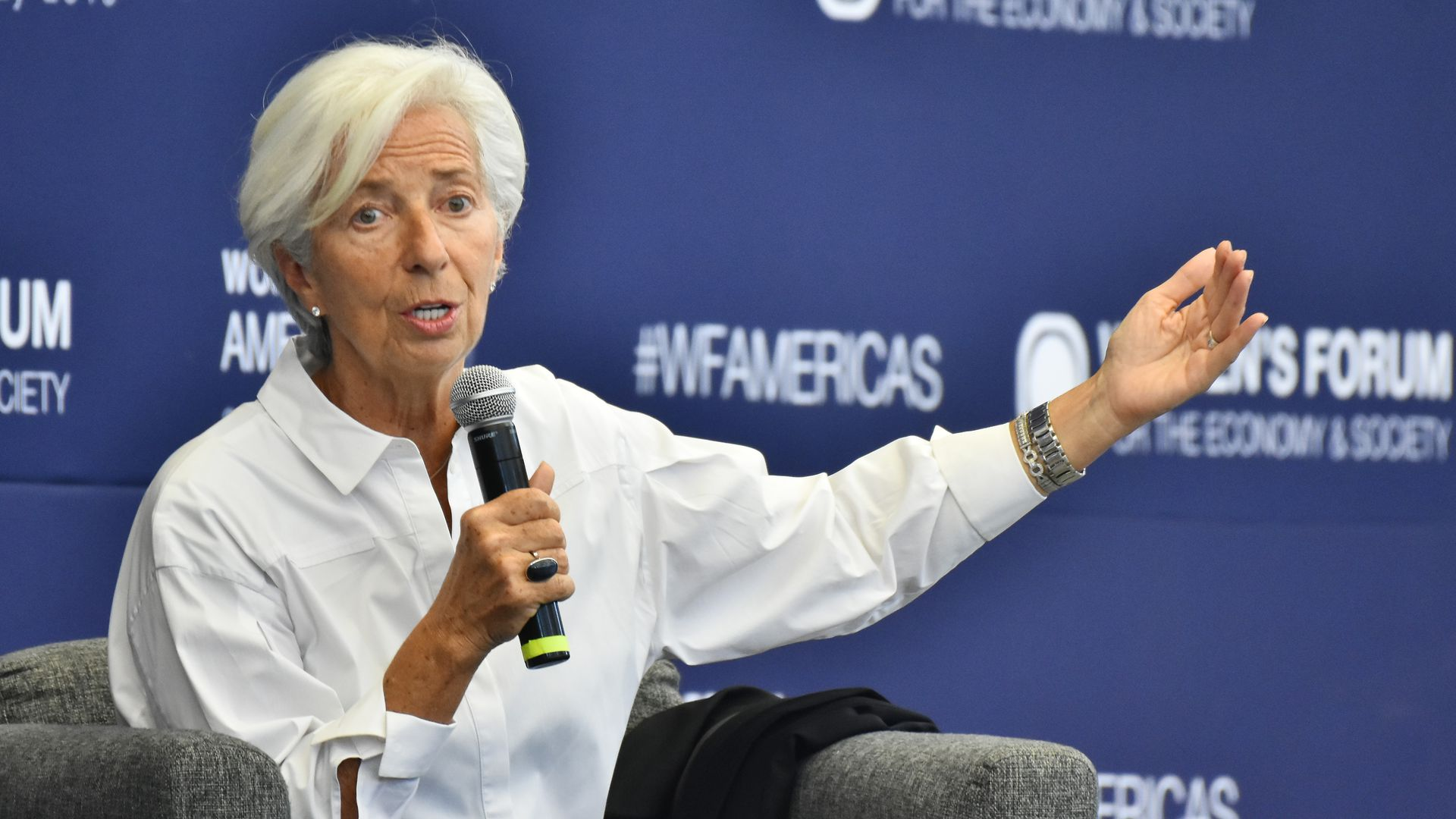 Christine Lagarde speaks at Women's Forum Americas 2019 at Claustro of Sor Juana University on May 30, 2019 in Mexico City, Mexico