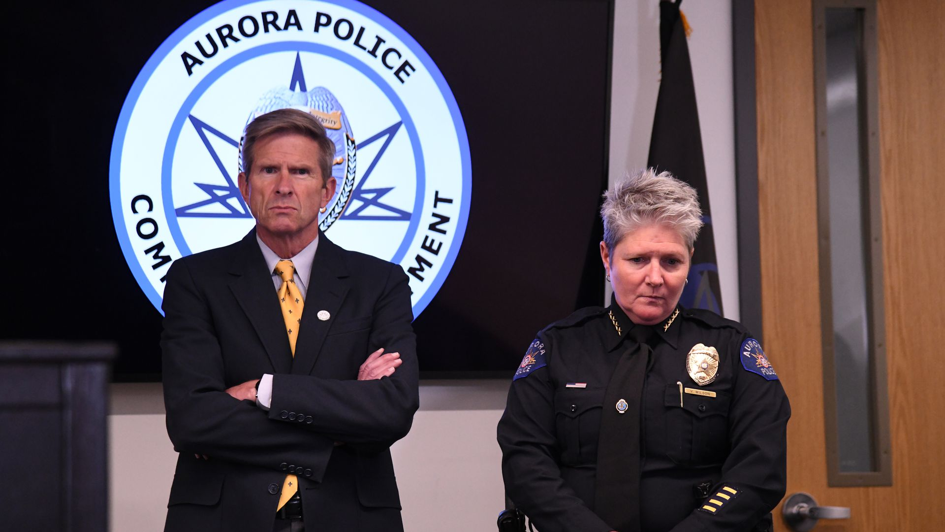 Aurora City Manager Jim Twombly, left, and Aurora Police Chief Vanessa Wilson face pressure amid new state investigation. Photo: Hyoung Chang/The Denver Post via Getty Images