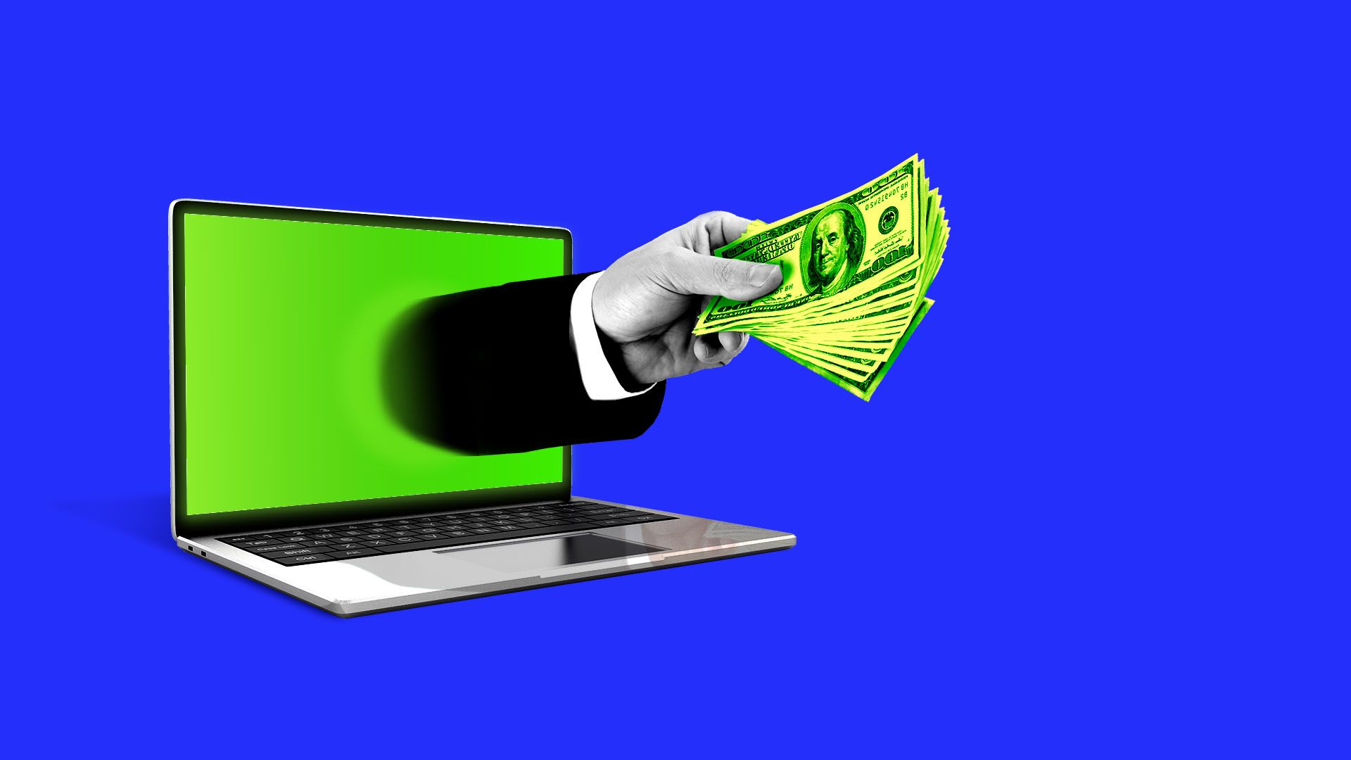 Illustration of hand with money reaching out of a computer screen