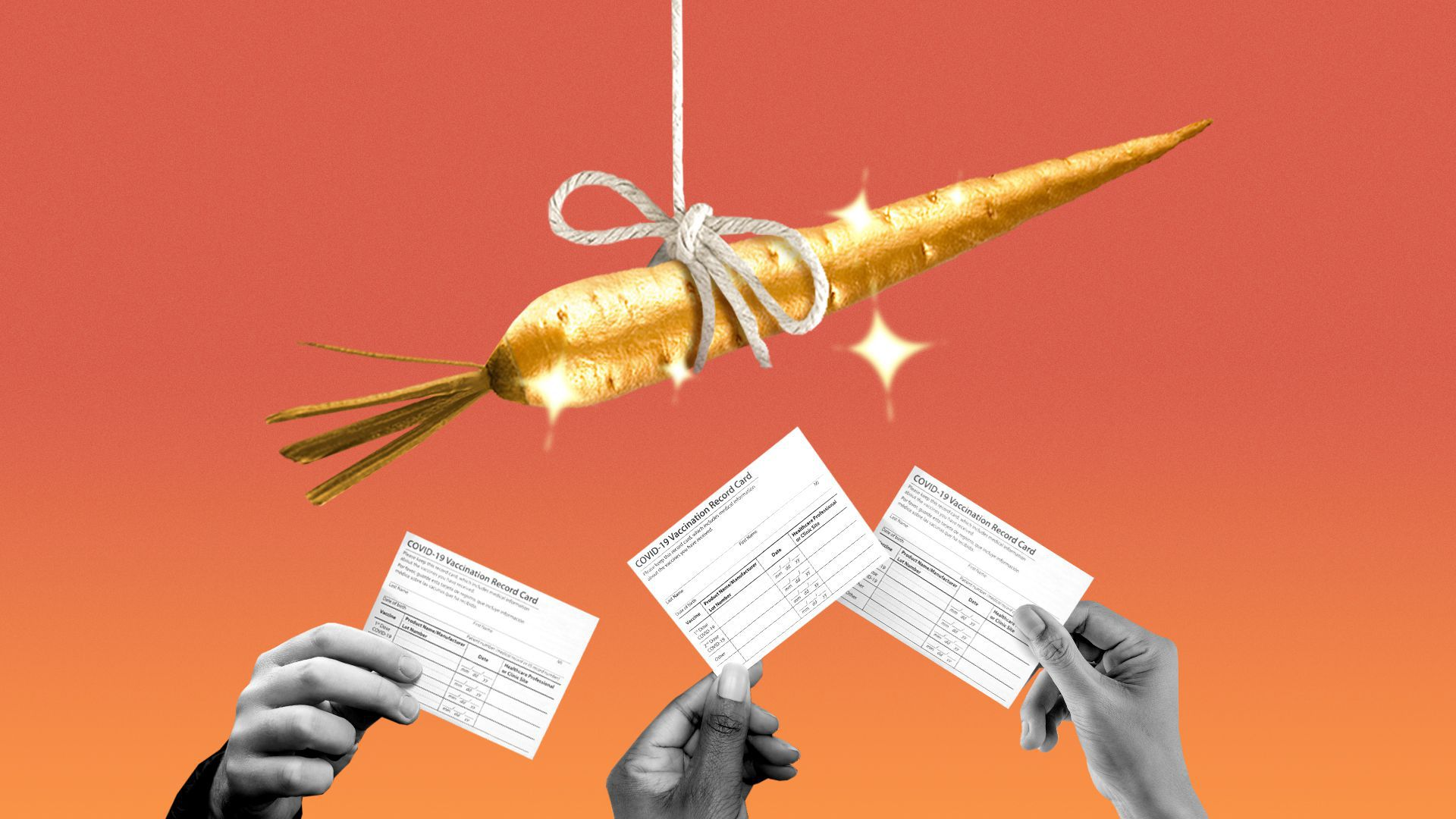 Illustration of three people's hands holding vaccine cards up towards a dangling golden carrot