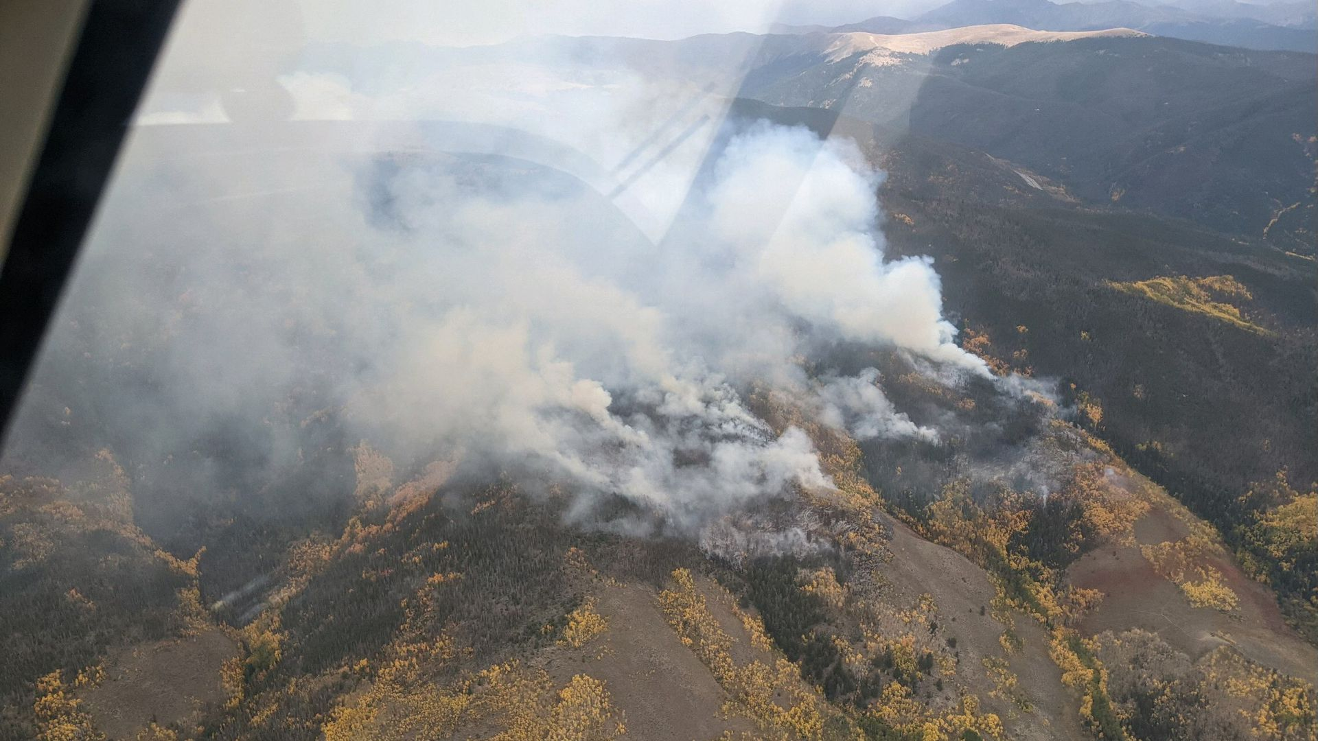 An aerial view of the Ptarmigan fire near Silverthorne on Tuesday afternoon. Photo courtesy of the U.S. Forest Service