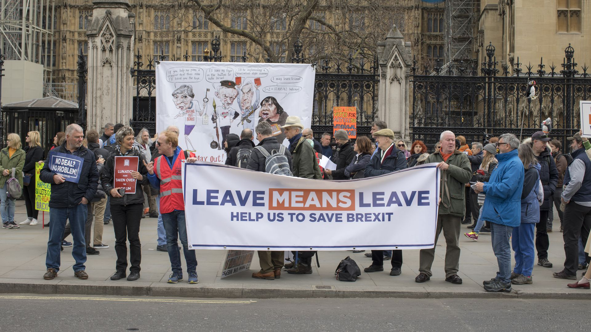 Brexit protesters in Westminster