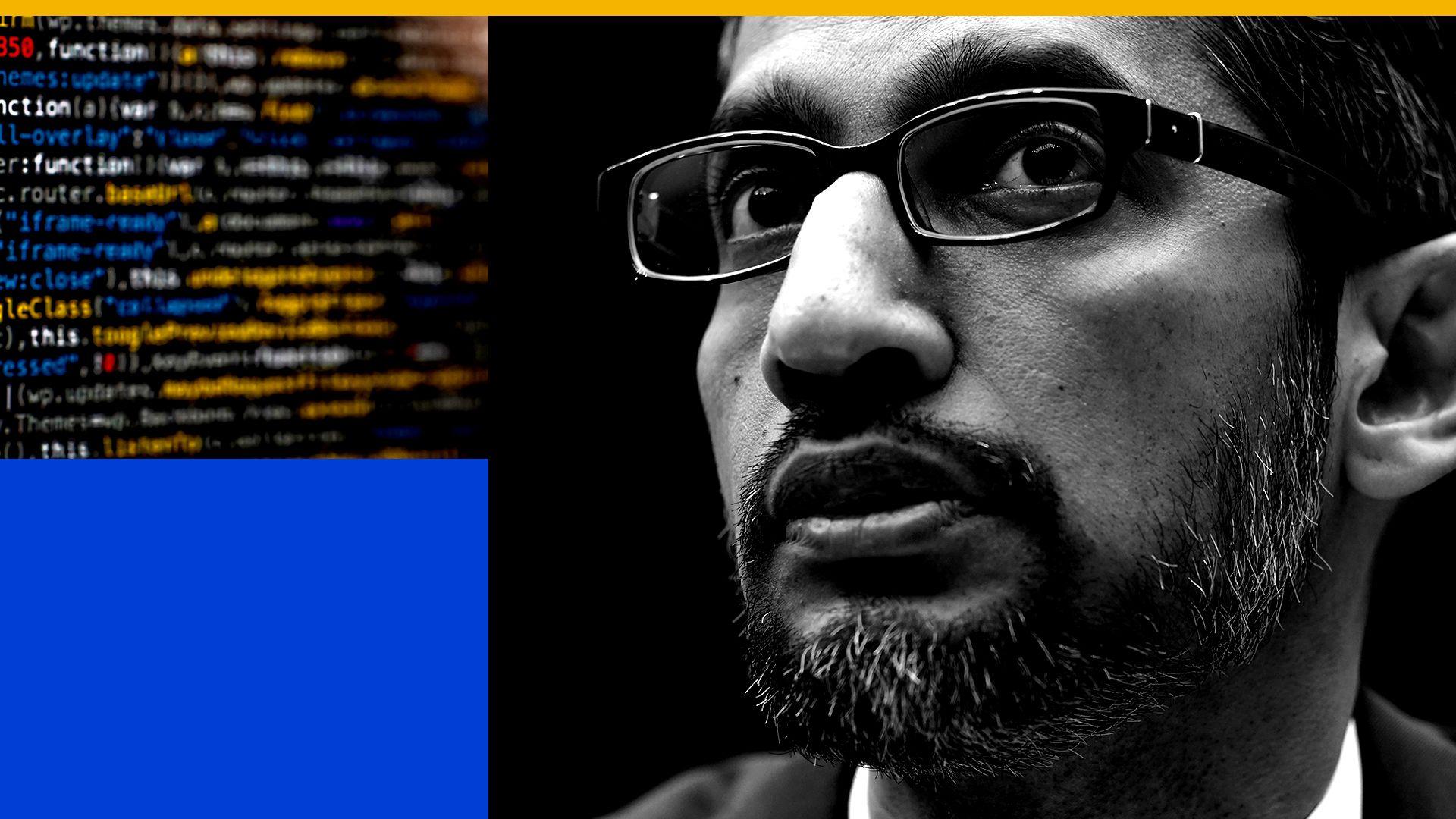 Illustration of Google CEO Sundar Pichai