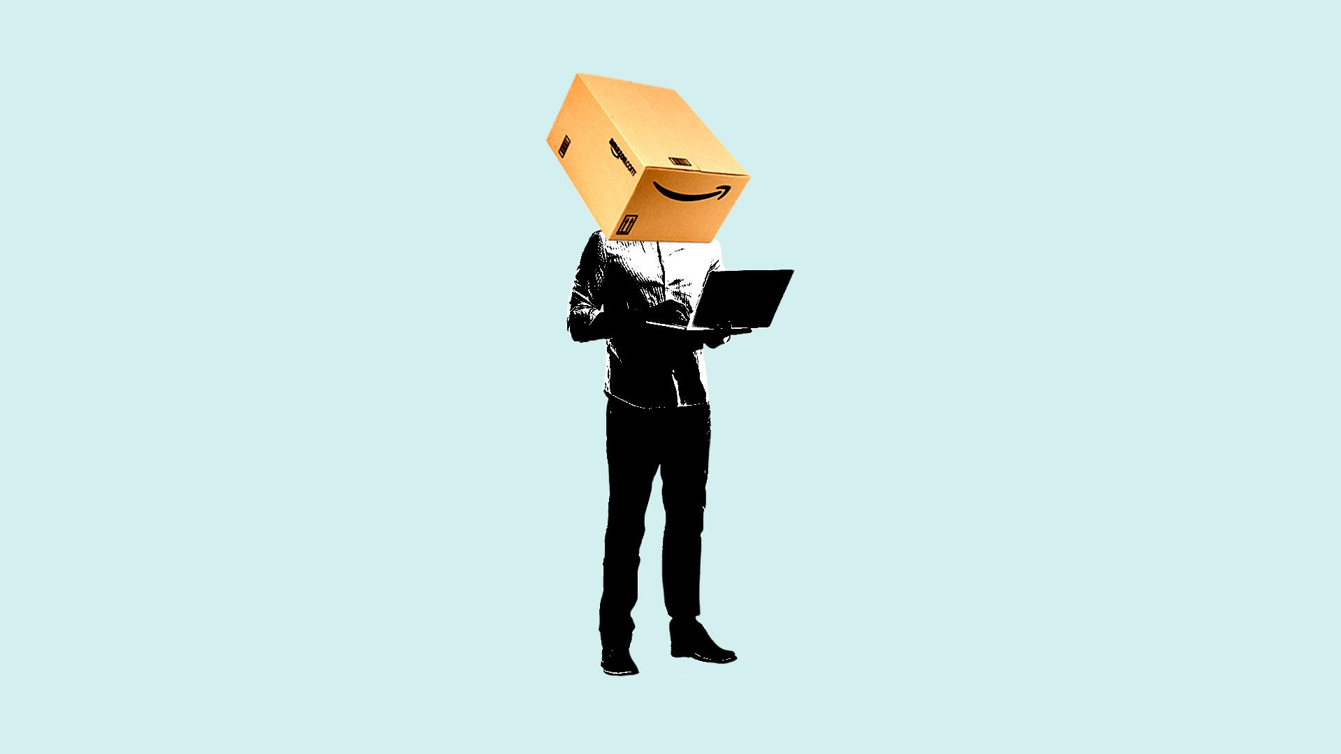 An illustration of a man with an Amazon box for a head working on a laptop.