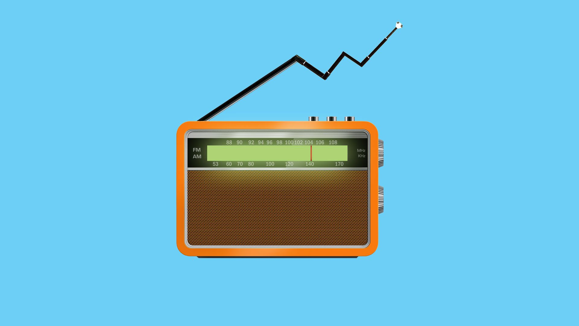 Illustration of a radio with its antenna in the formation of an upward trending market arrow.