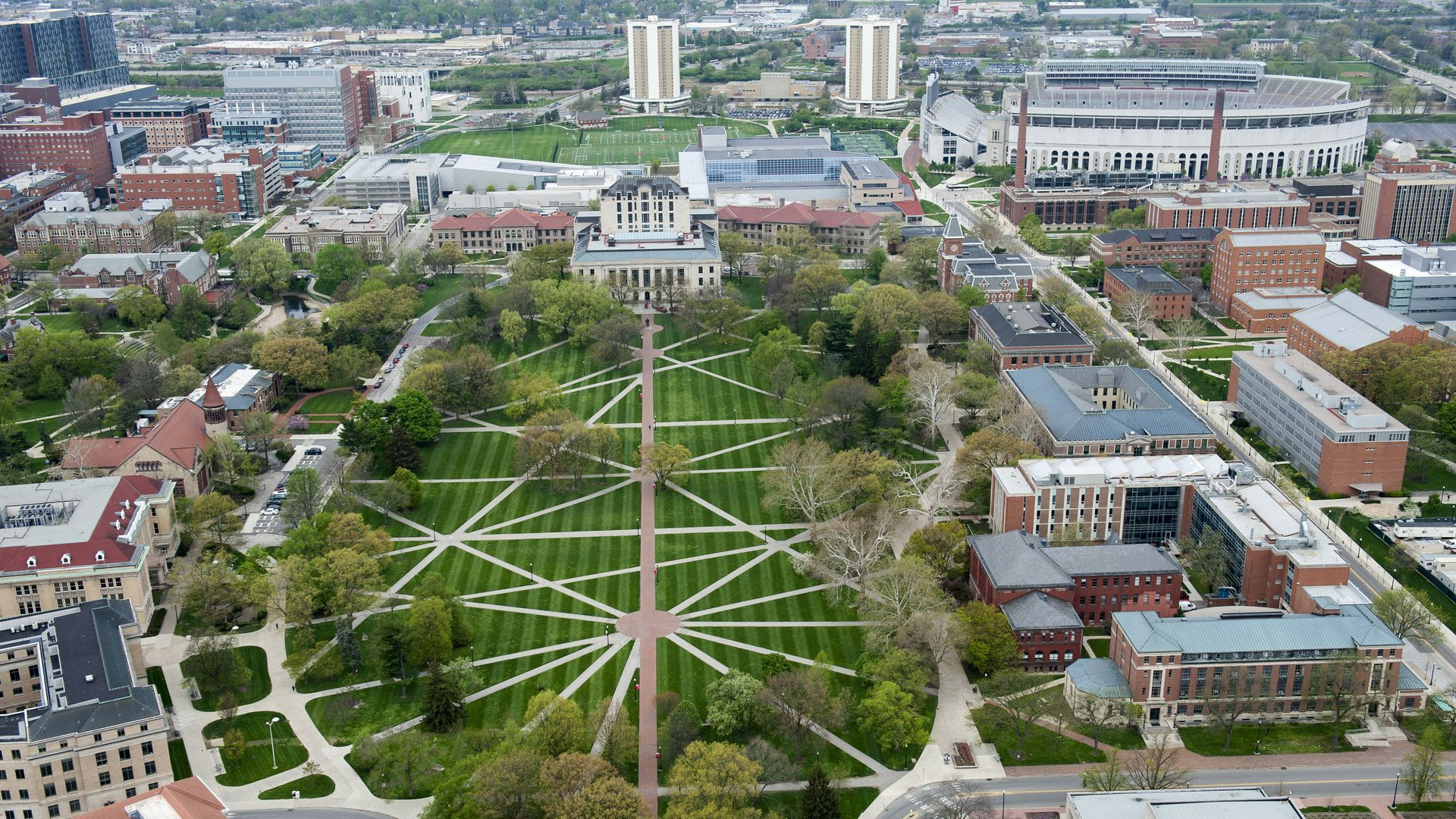 A view from above the Oval on Ohio State University's campus.