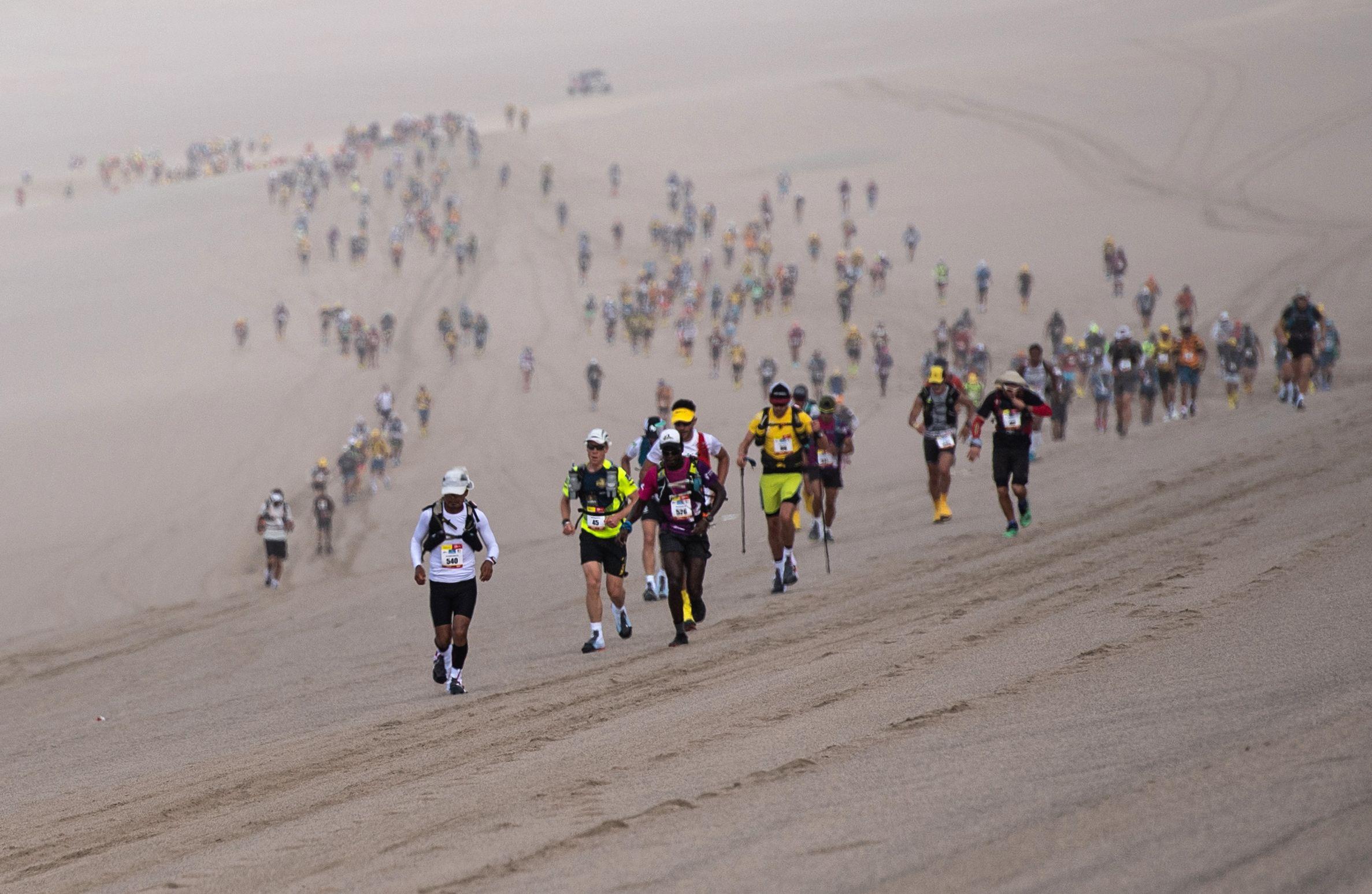 Marathon runners in the desert