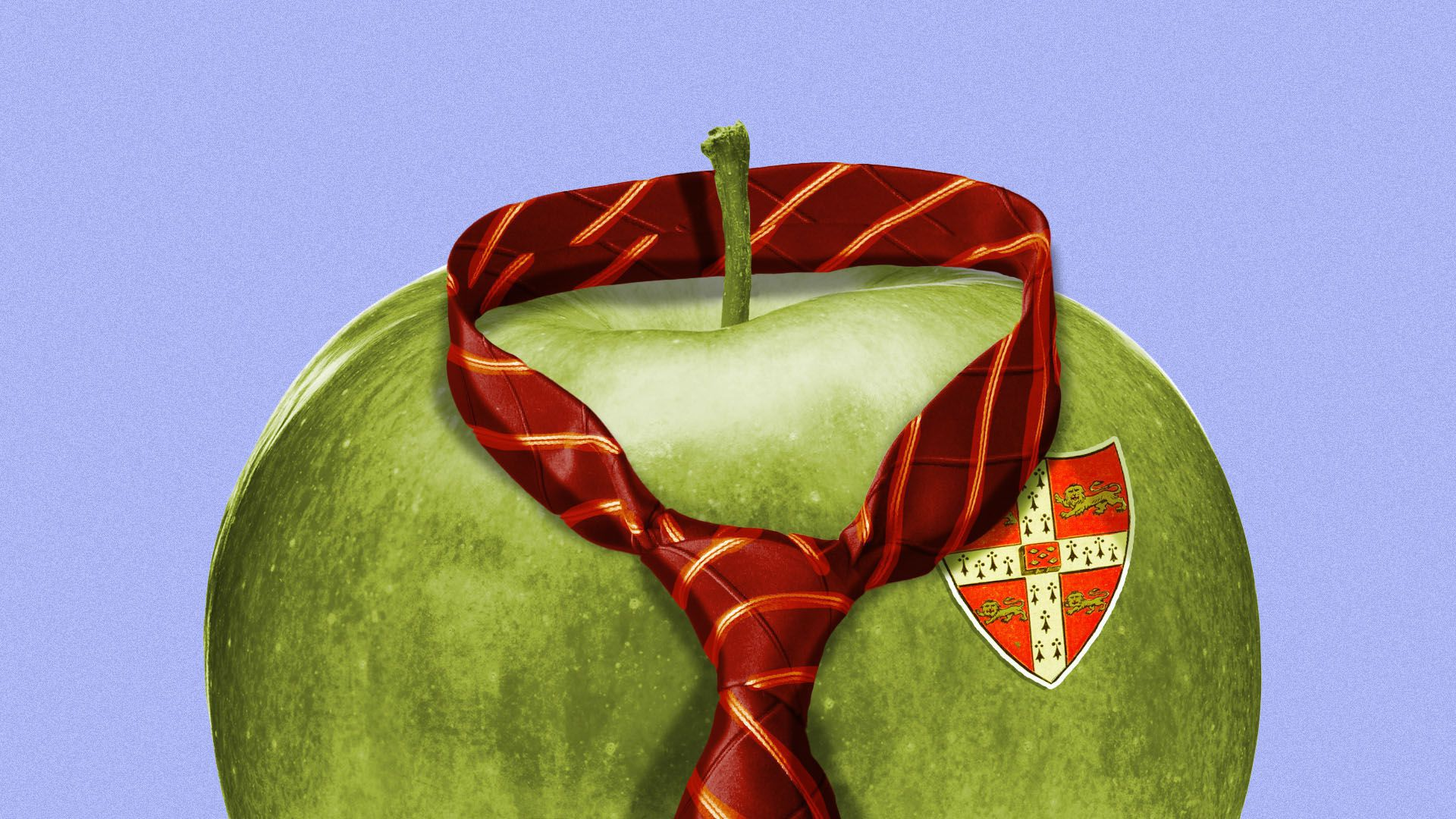 Illustration of an apple wearing a private school tie and emblem