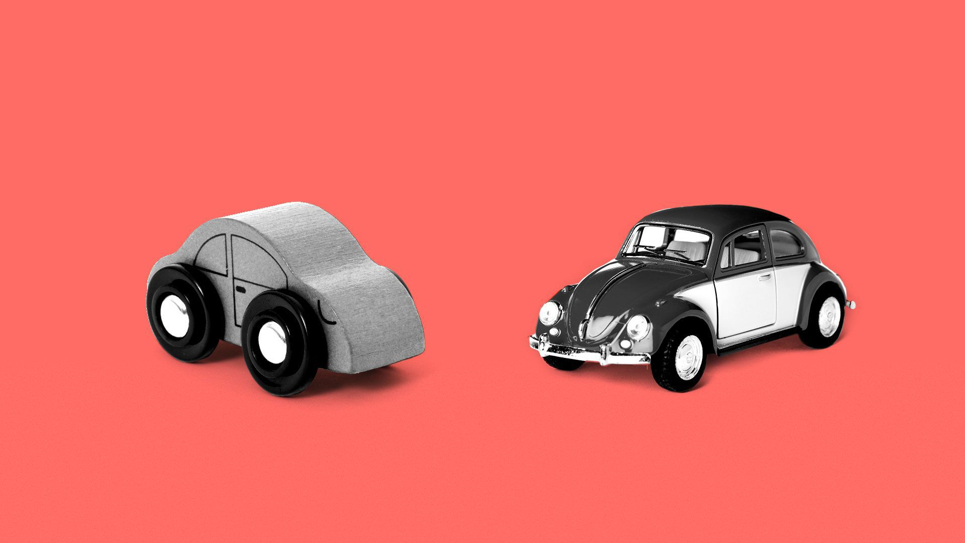 Illustration of a wooden car next to a VW beetle