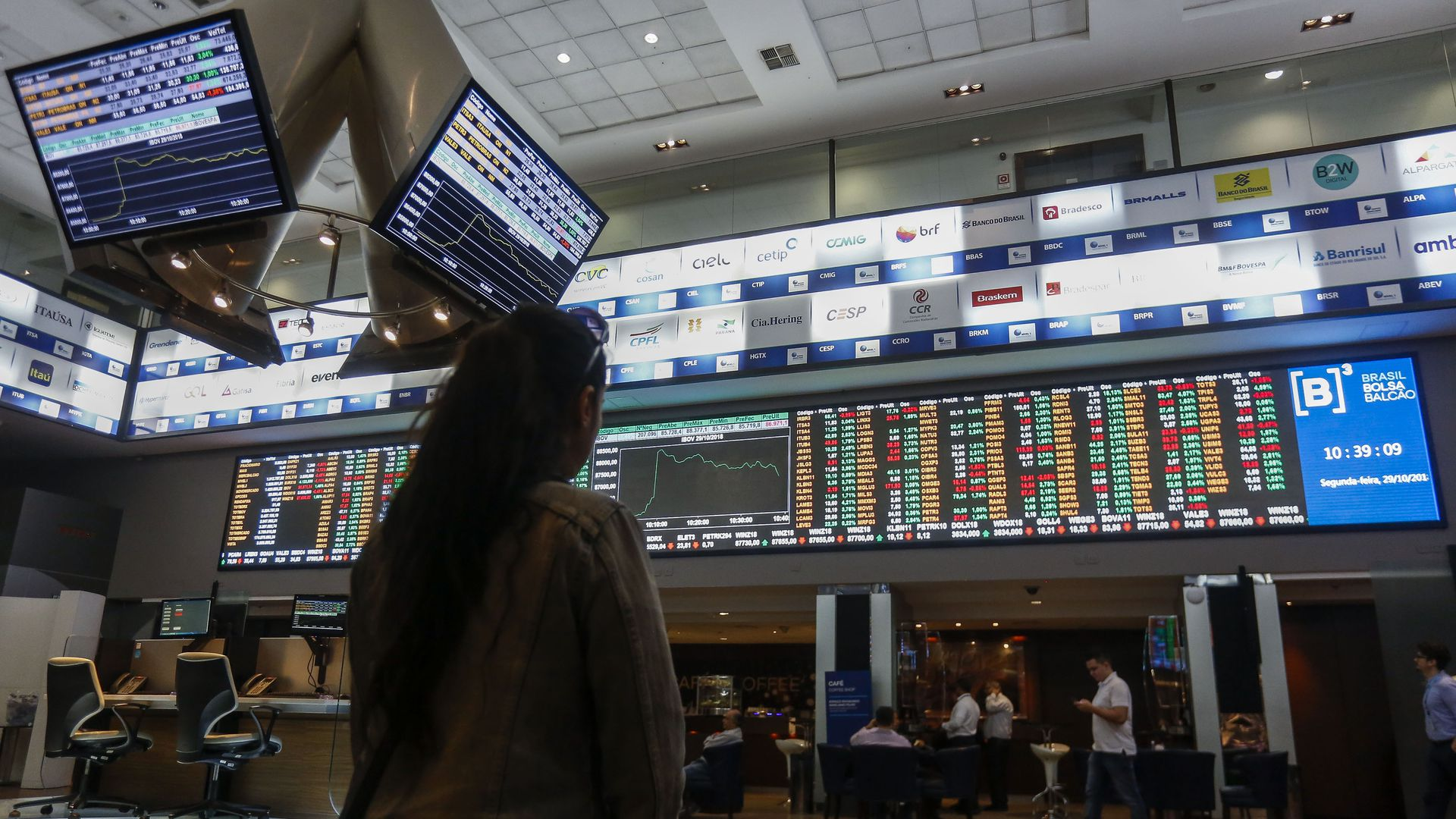 Picture taken at Sao Paulo's Stocks Exchange (Bovespa) headquarters in downtown Sao Paulo, Brazil on October 29, 2018.