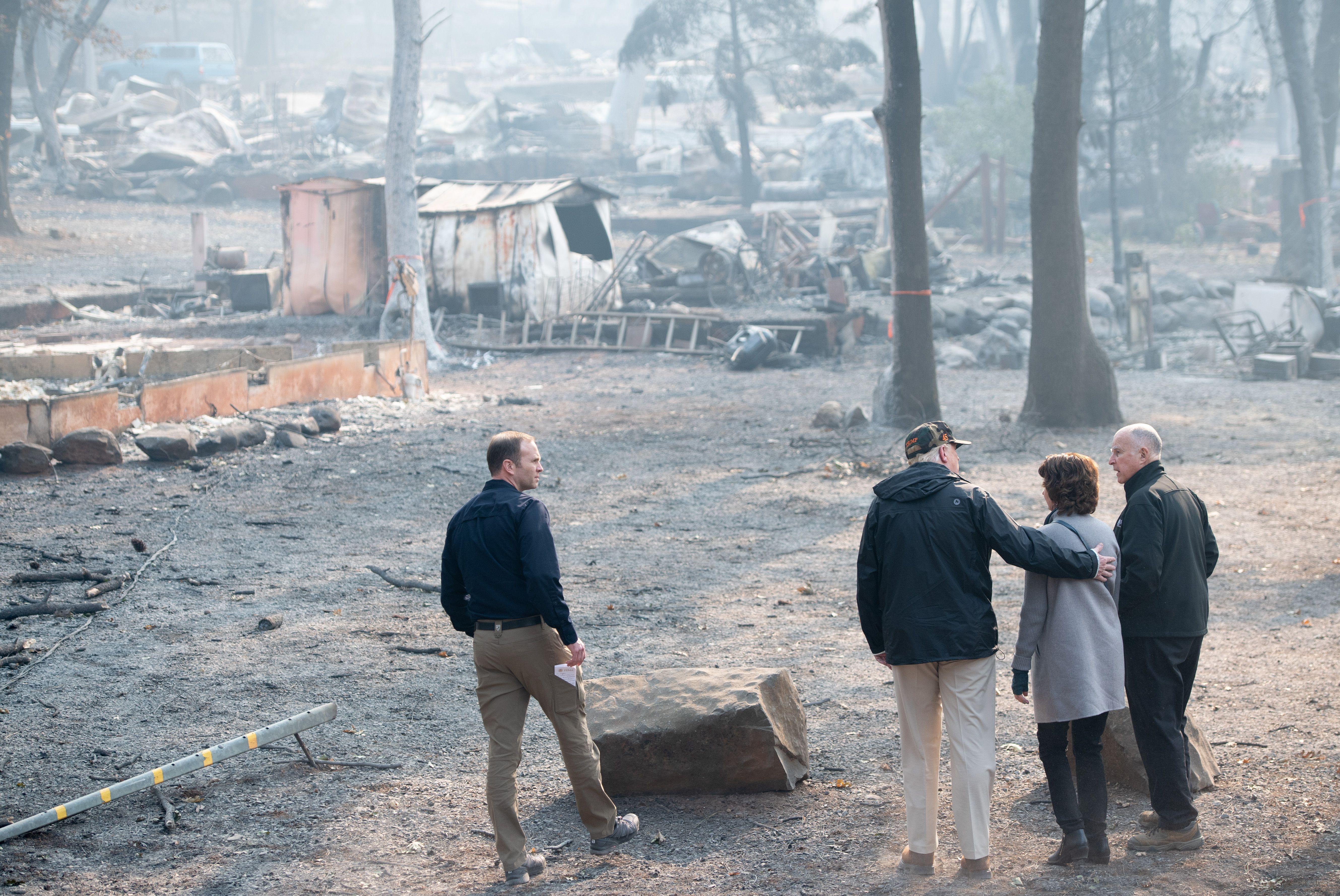 Donald Trump visits destruction in California.