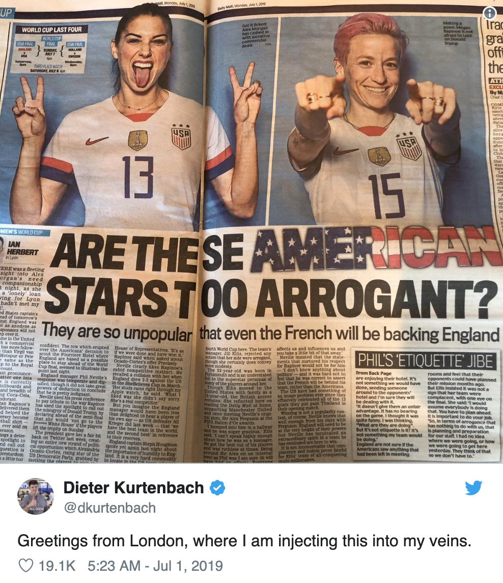 Screenshot of British paper