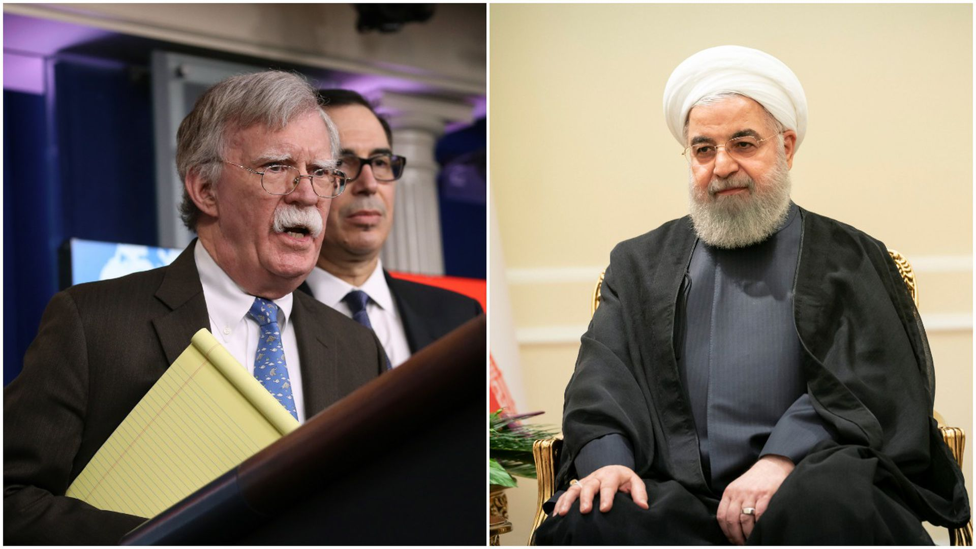 Collage of former national security adviser John Bolton and Iranian President Hassan Rouhani