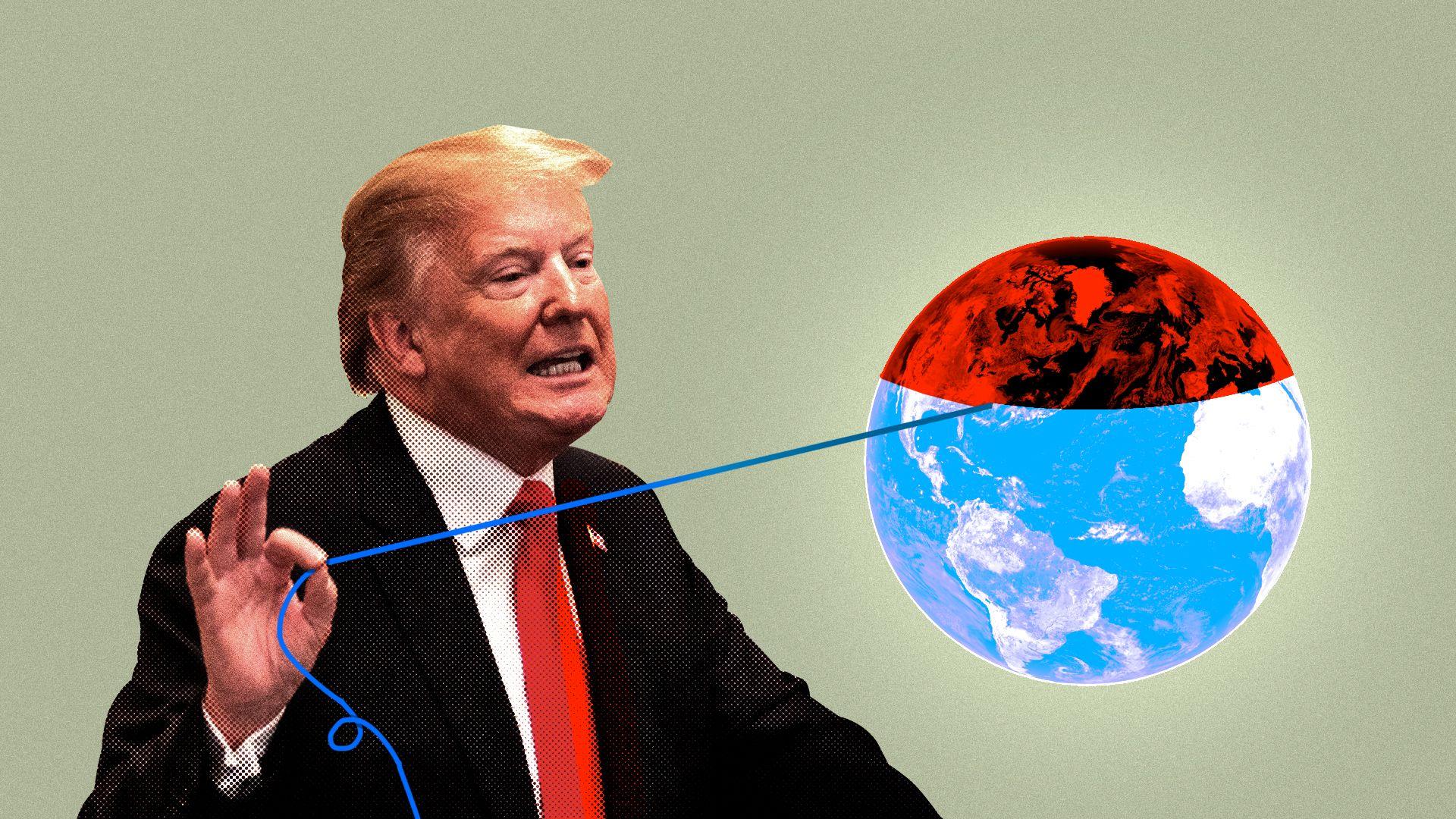 Trump unravels a world globe representing the 20th Century
