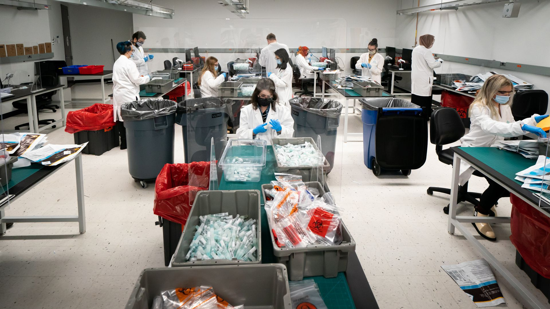 Workers sort through vials at IBX's COVID-19 spit test processing facility in Oakdale, Minnesota.