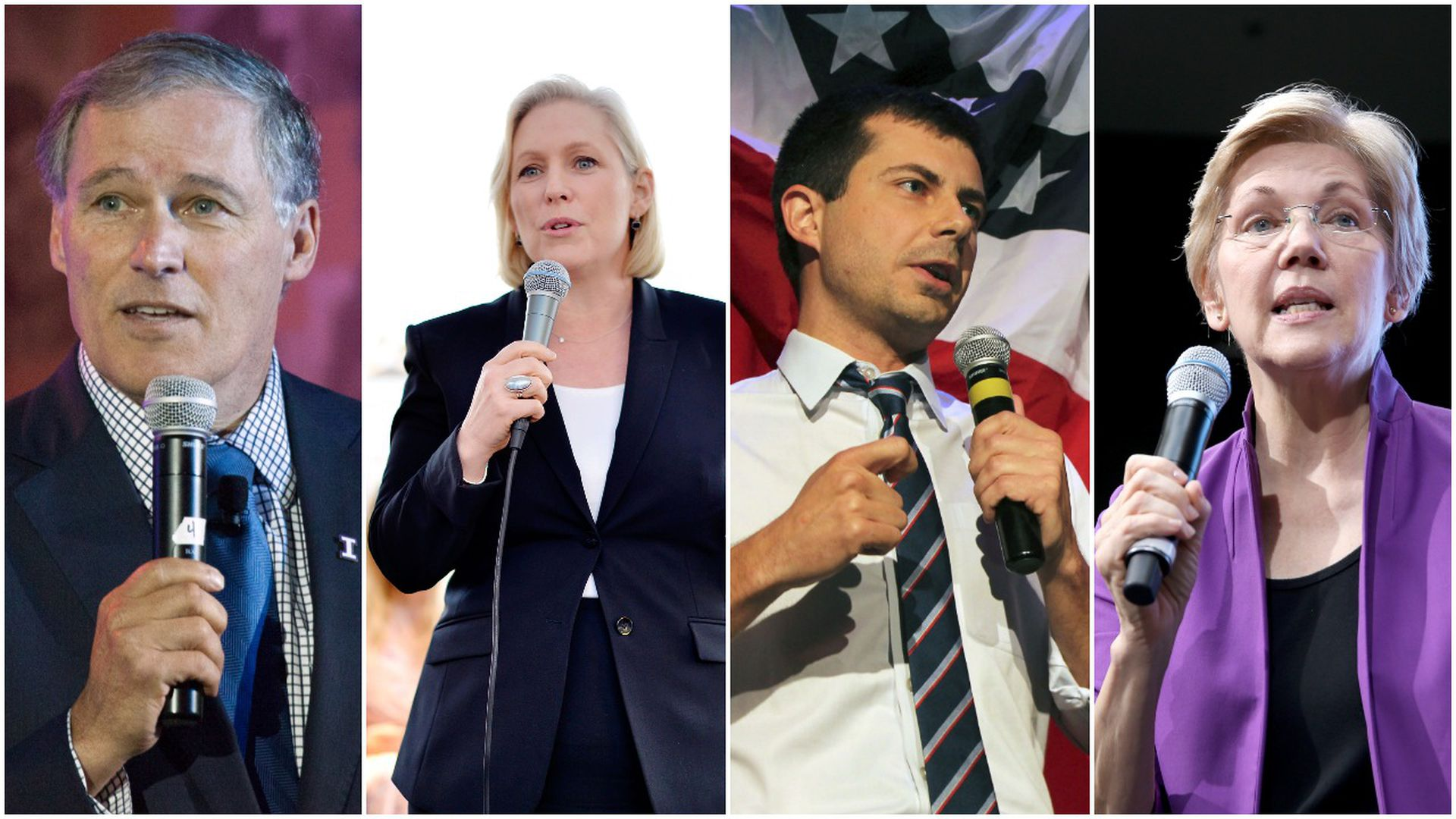 This image is a four-way split screen of Democratic candidates in this order, from left to right: Inslee, Gillibrand, Buttigieg, and Warren.