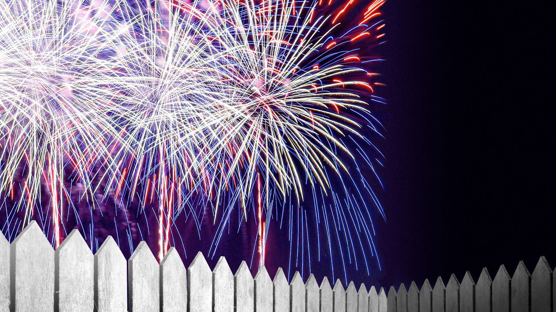 Illustration of fireworks going off behind a fence. On the other side, it's dark.