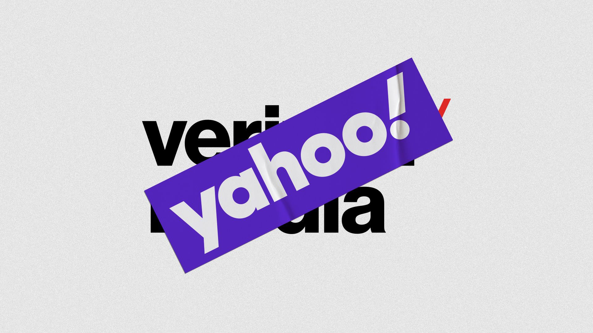 Illustration of the Verizon Media Group logo being covered by a Yahoo! sticker.