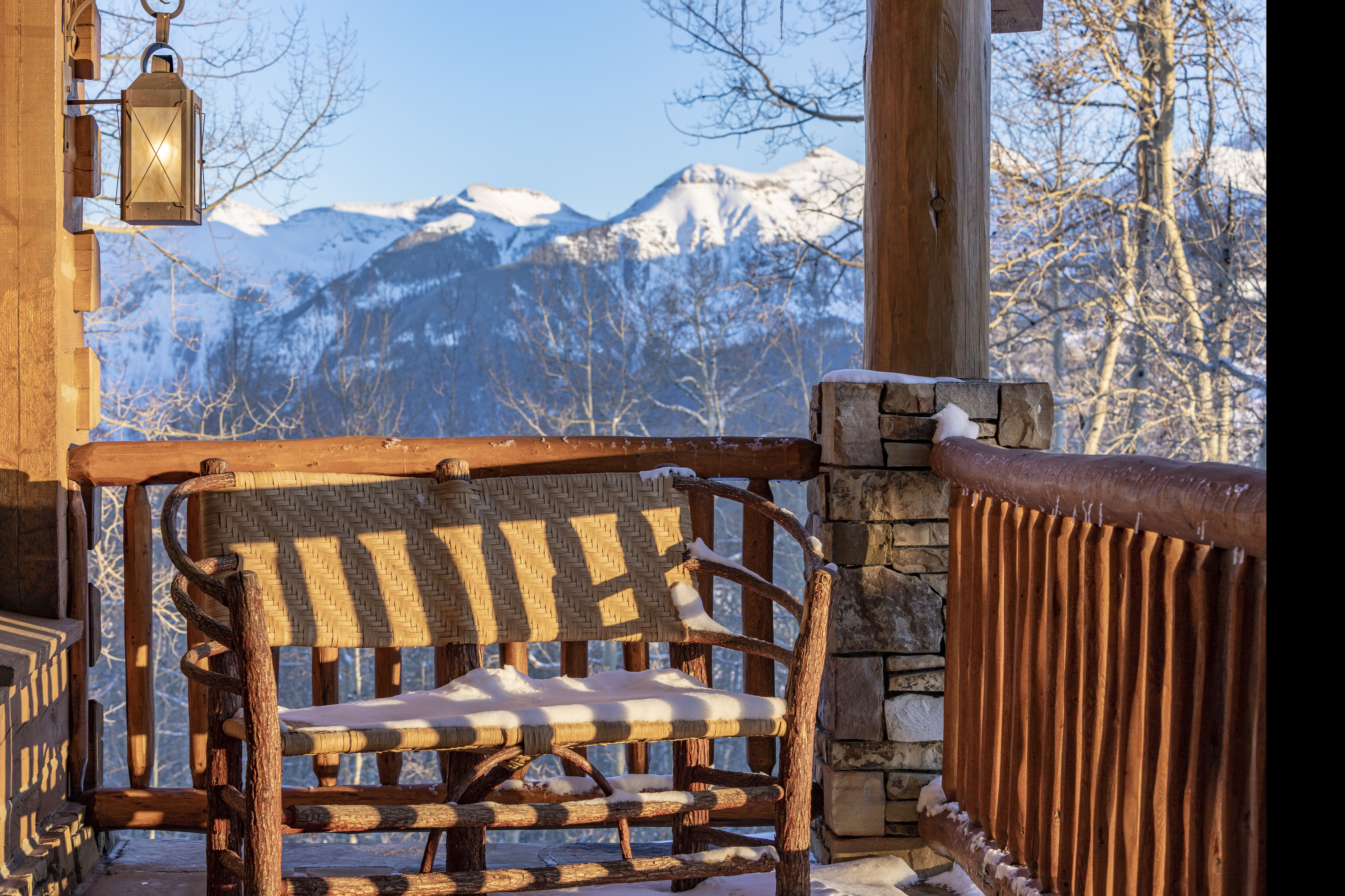 Tom Cruise's Telluride Ranch porch at sunset