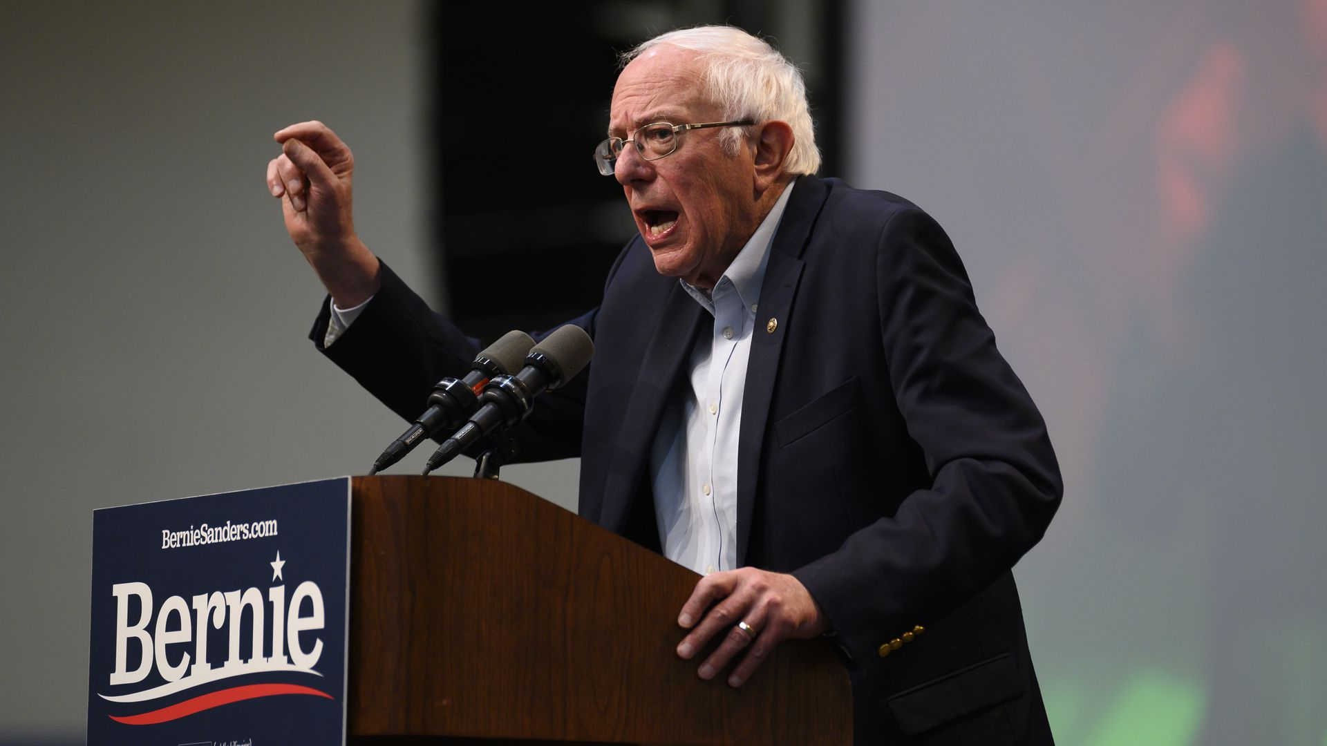 Democratic Presidential candidate Bernie Sanders (I-VT) speaks during the Climate Crisis Summit at Drake University on November 9