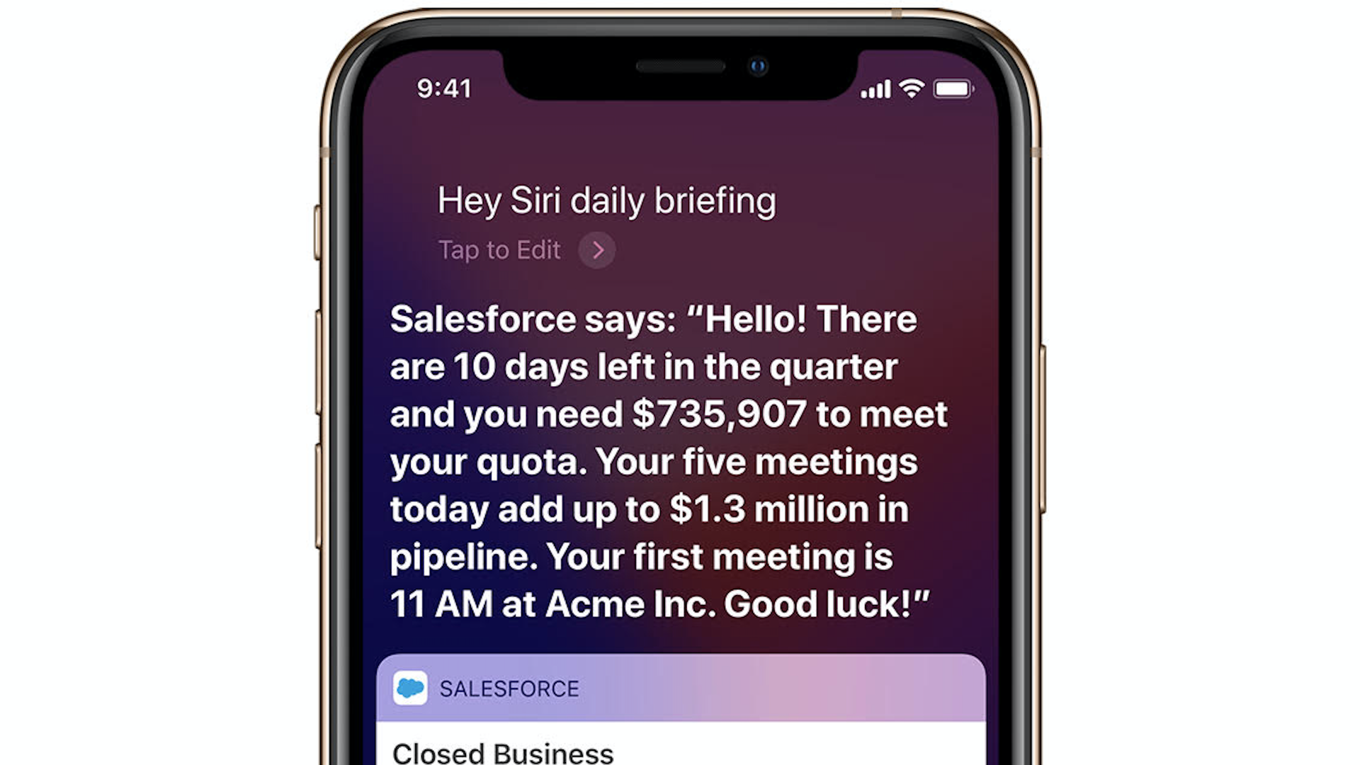 Salesforce data showing up inside of Apple's Siri assistant