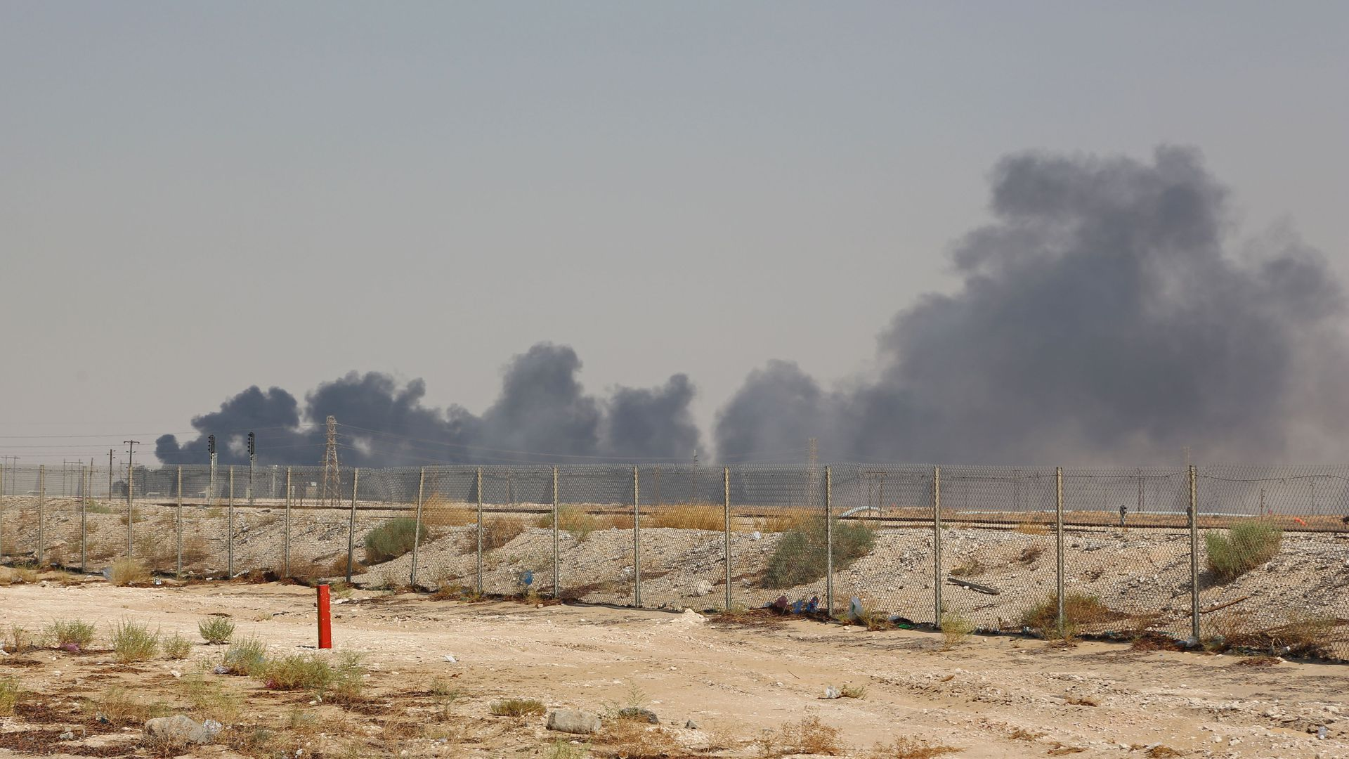 Smoke billows from an Aramco oil facility in Abqaiq after a drone attack in Saudi Arabia