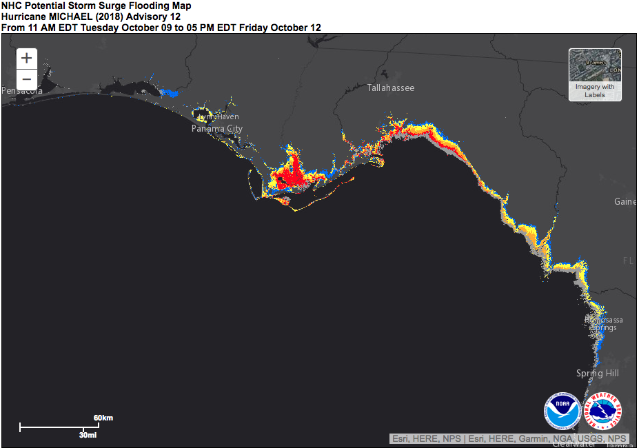 Forecast storm surge inundation from Hurricane Michael in a reasonable worst-case scenario.