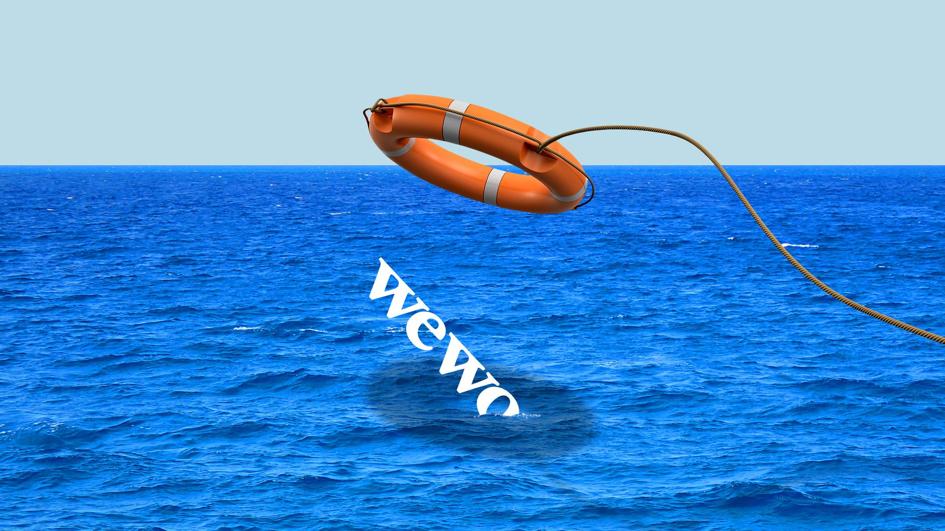 Illustration of the wework logo sinking with a ring buoy being thrown out over it.
