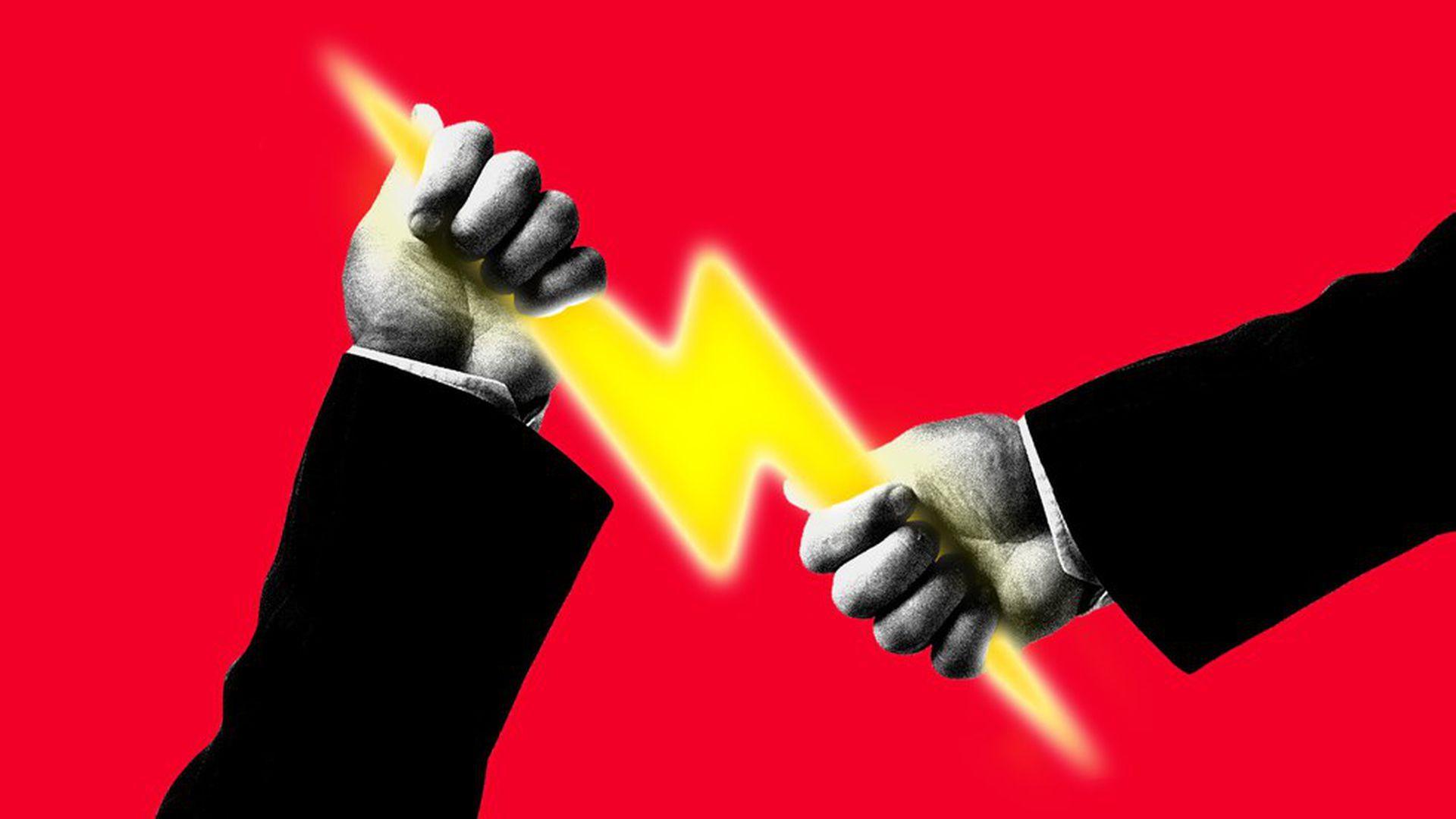 Illustration of hands holding a lightning bolt