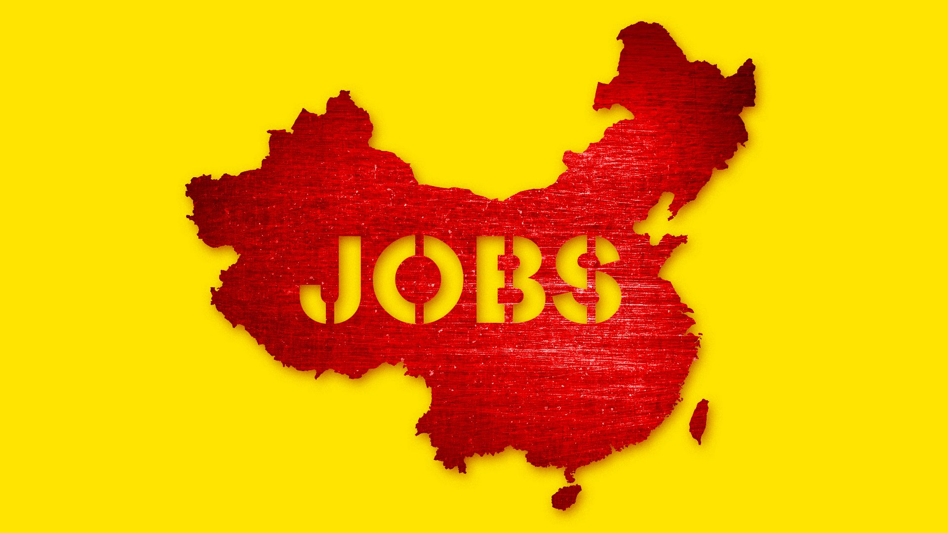 Illustration of a red map of China with yellow background and the word JOBS printed on the country.