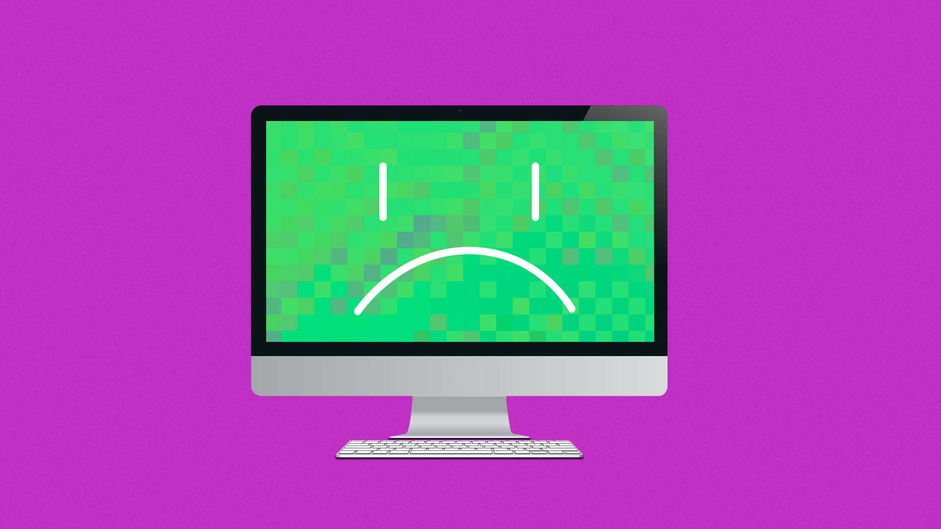 Illustration of computer with a frowning face.
