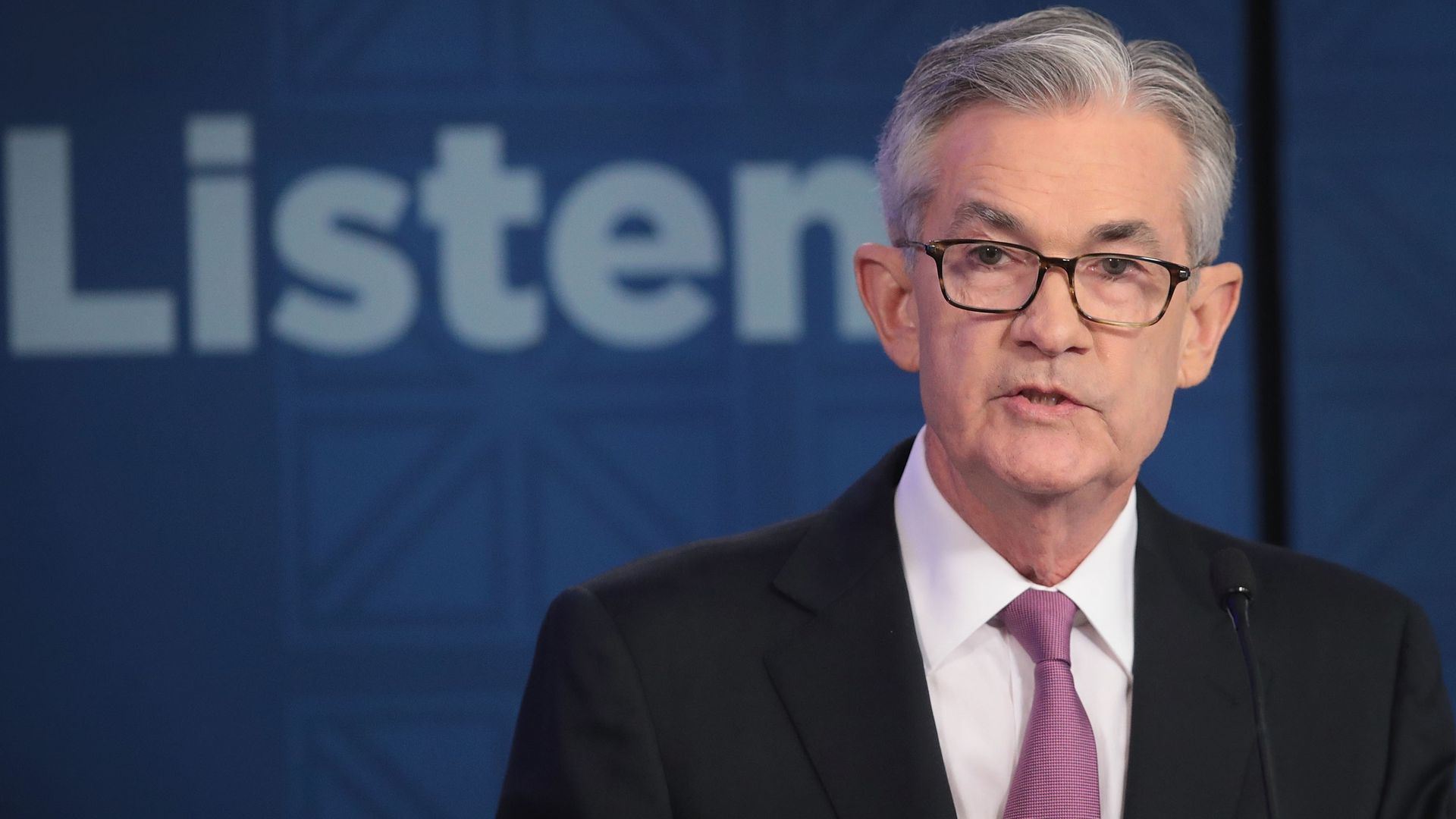 Jerome Powell, Chair, Board of Governors of the Federal Reserve speaks during a conference at the Federal Reserve Bank of Chicago.