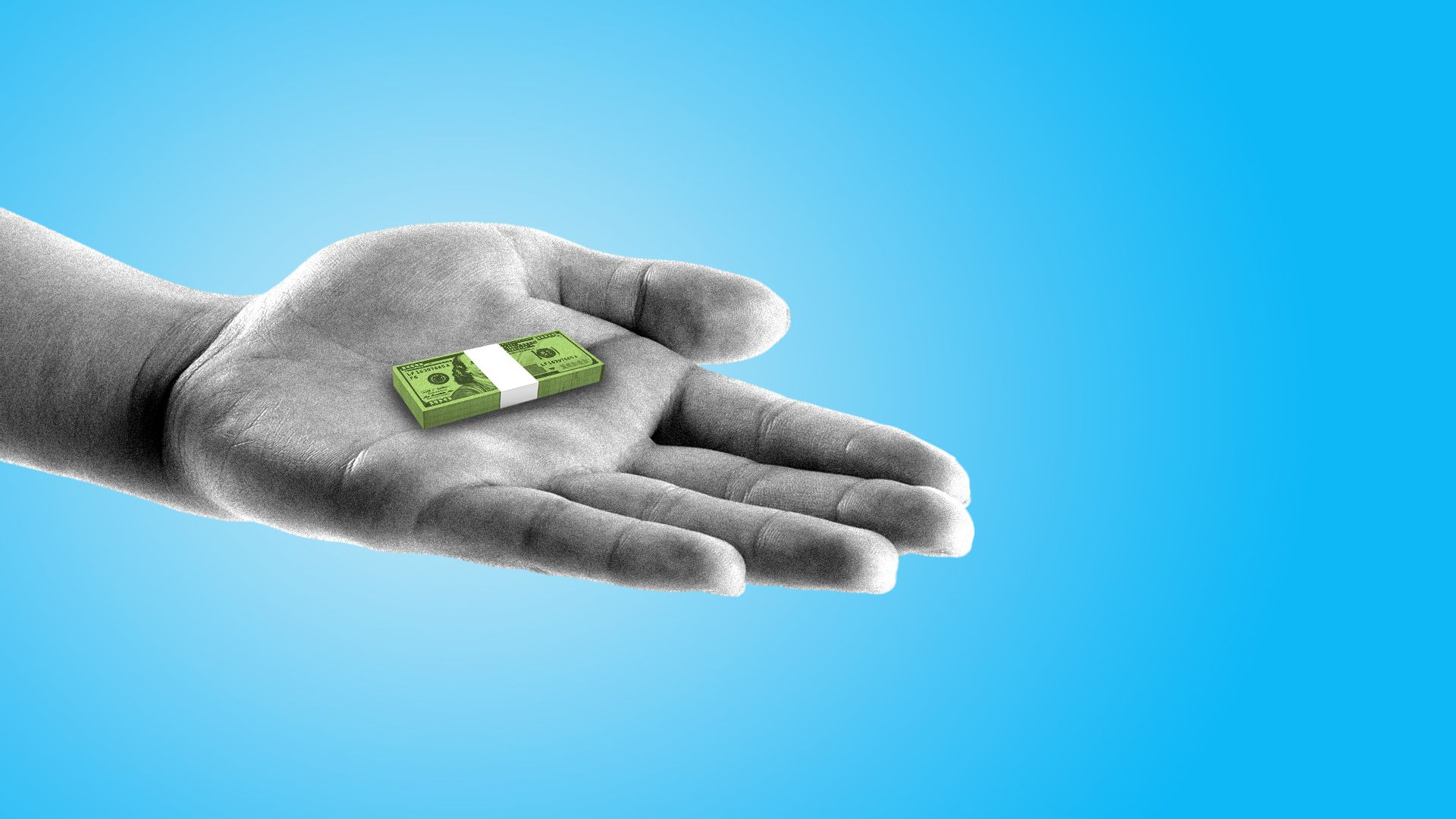 Illustration of a hand holding out a tiny stack of cash.