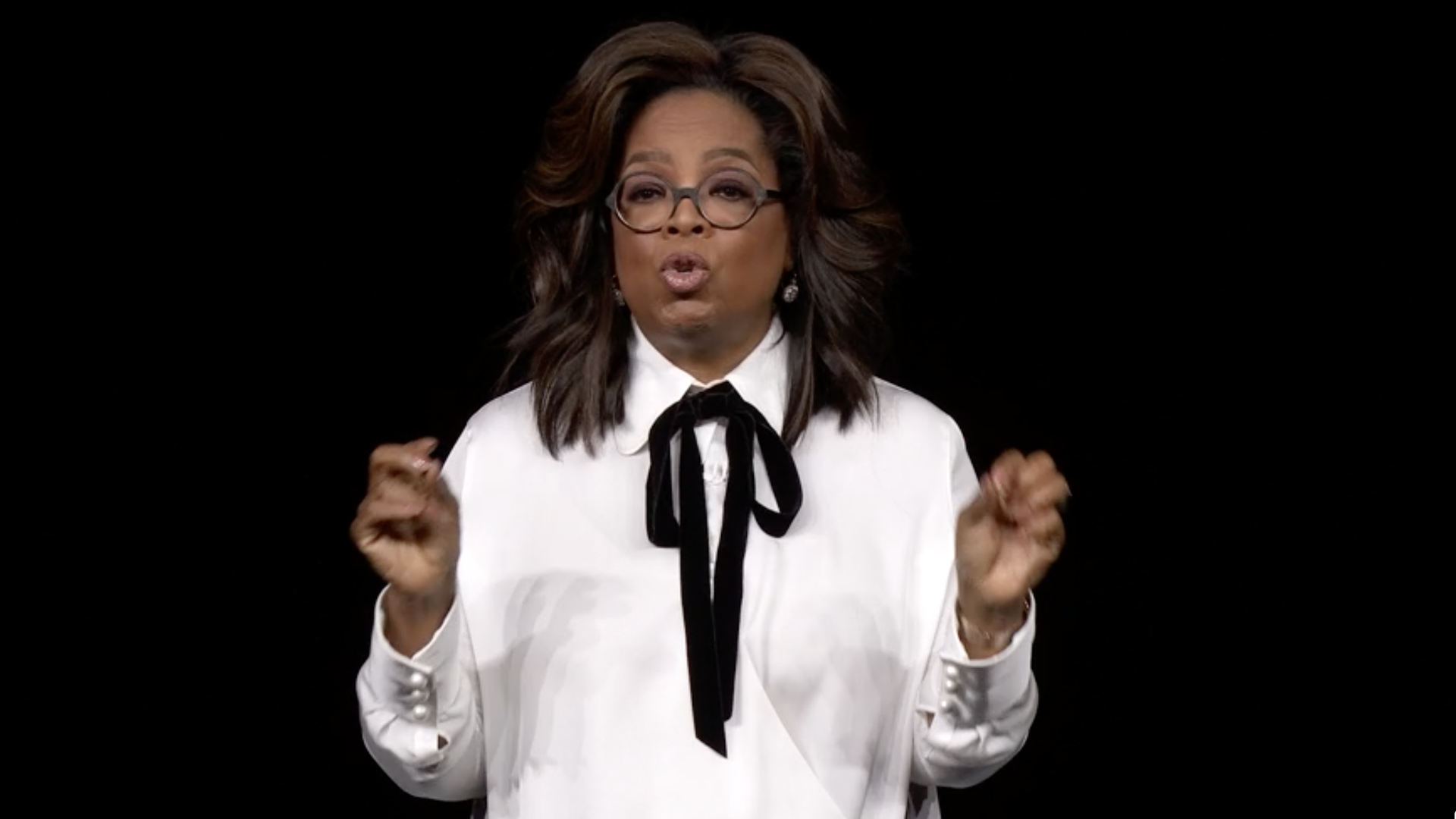 Oprah on the stage at Apple TV+ launch
